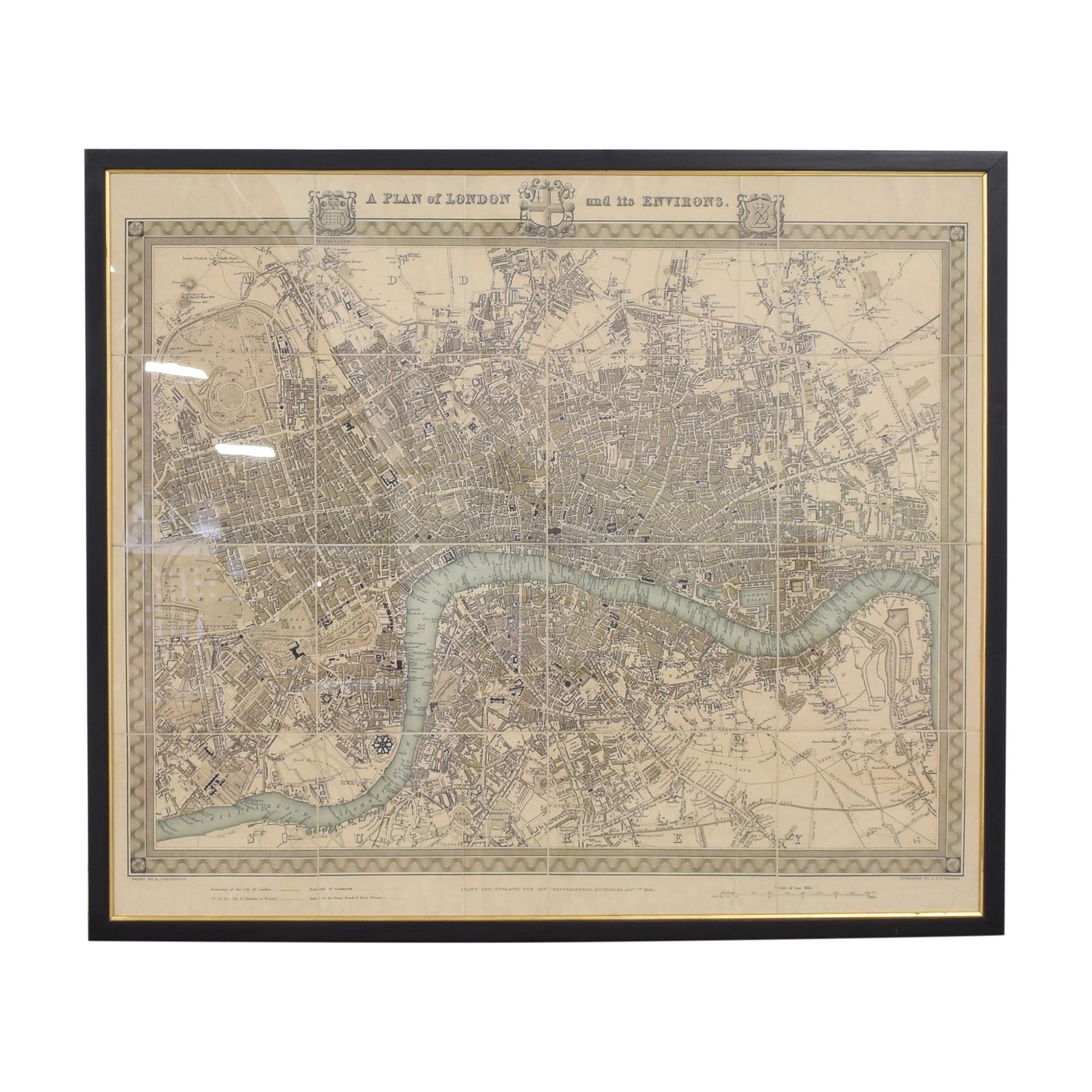 shop J & C Walker Vintage Map of London  Decor