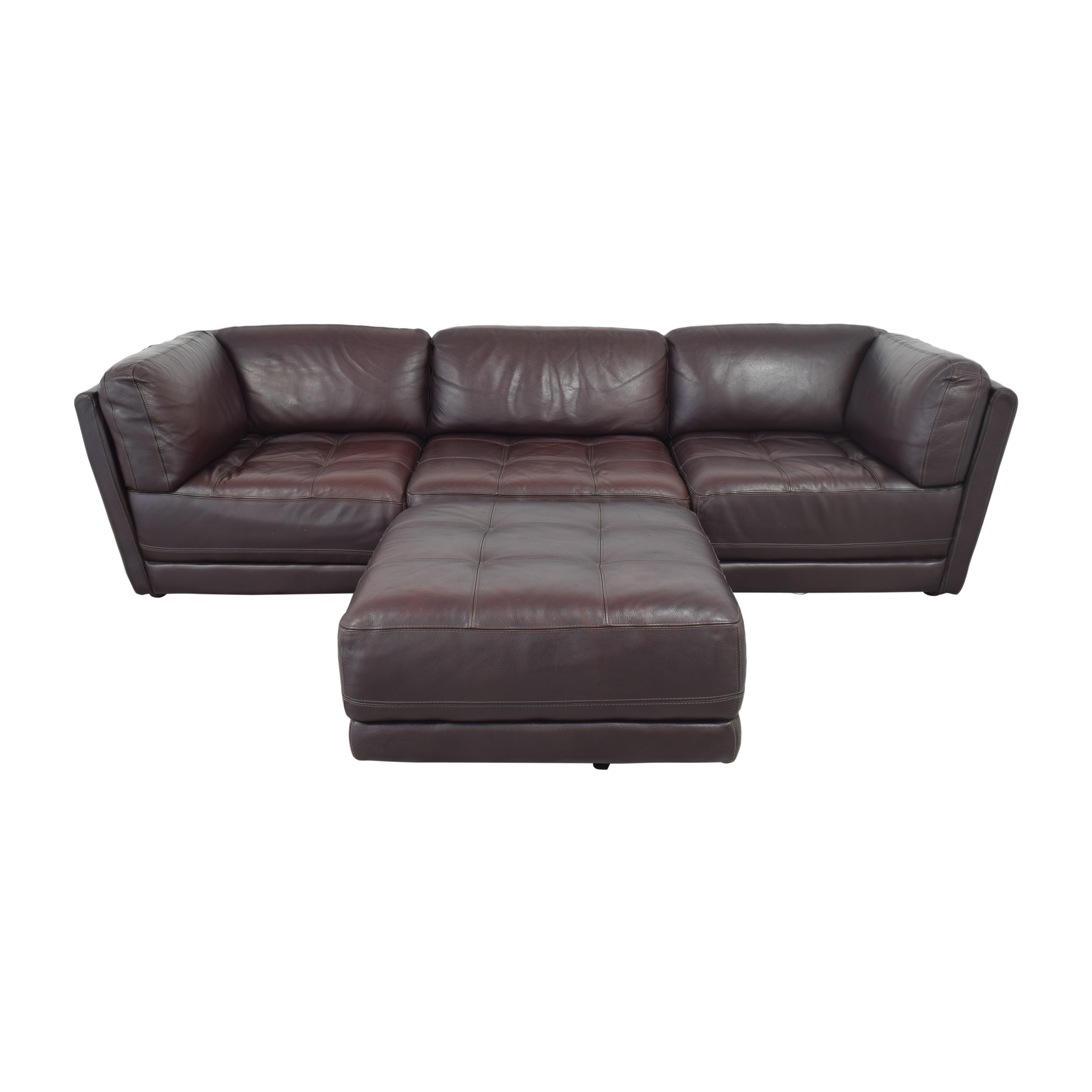 Raymour & Flanigan Raymour & Flanigan Tufted Sectional Sofa dimensions