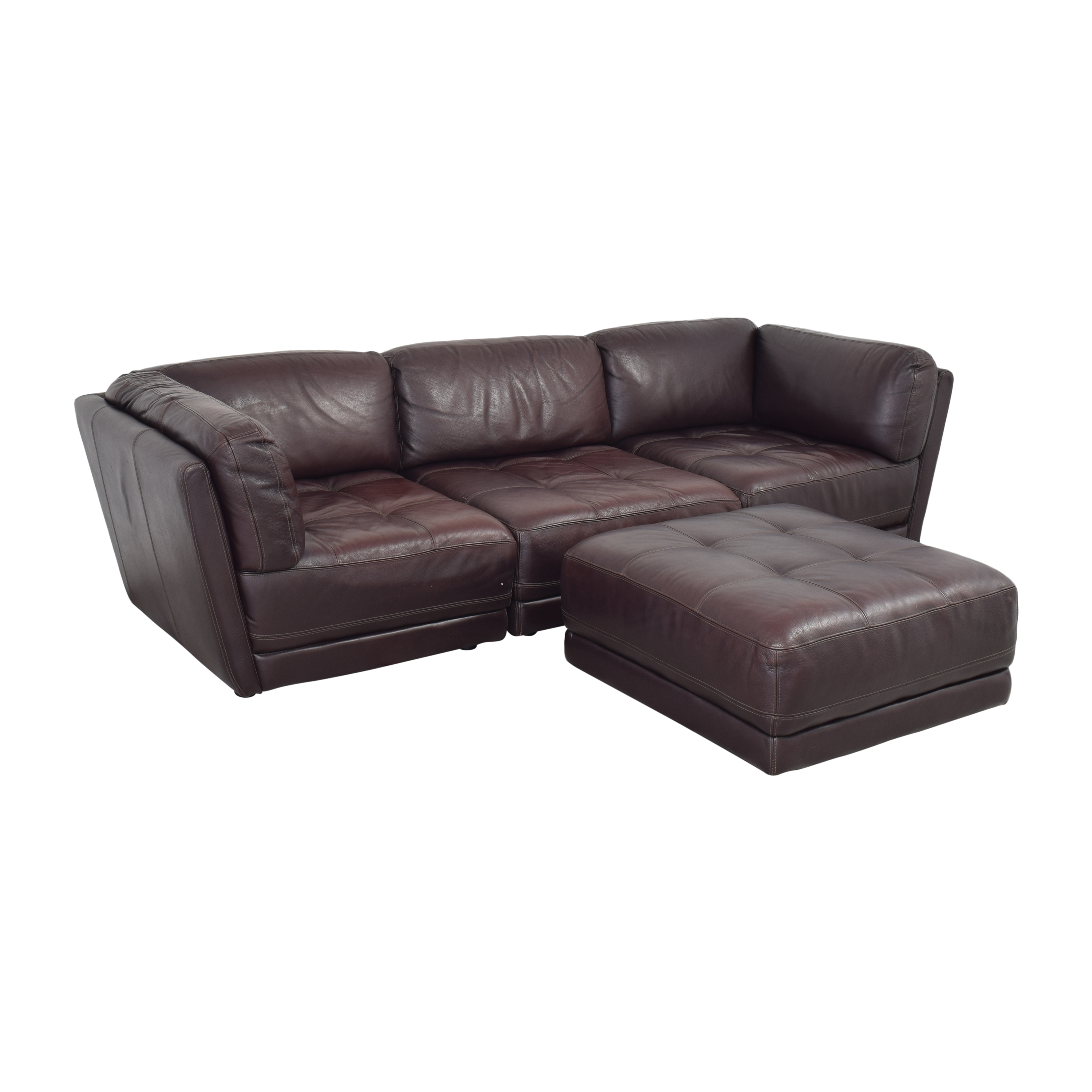 Raymour & Flanigan Raymour & Flanigan Tufted Sectional Sofa for sale