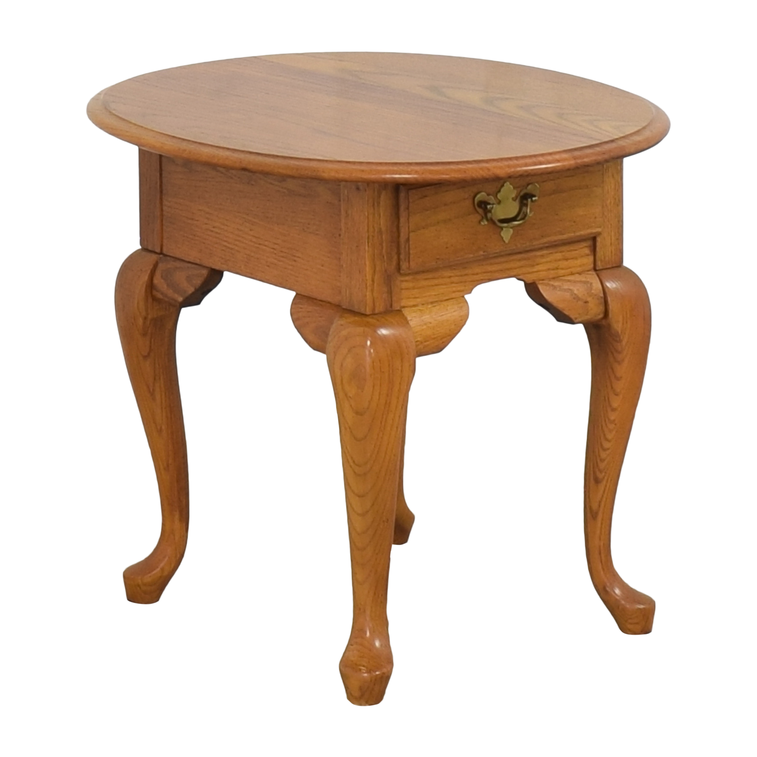 Broyhill Furniture Broyhill Single Drawer Round End Table brown