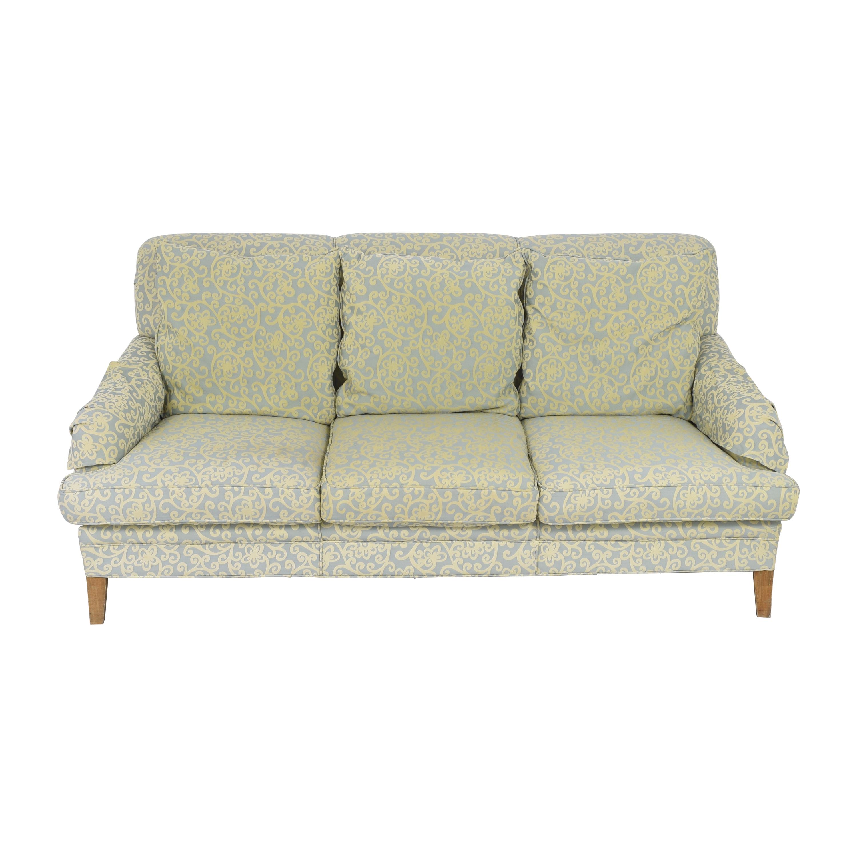 English Roll Arm Sofa light green and yellow