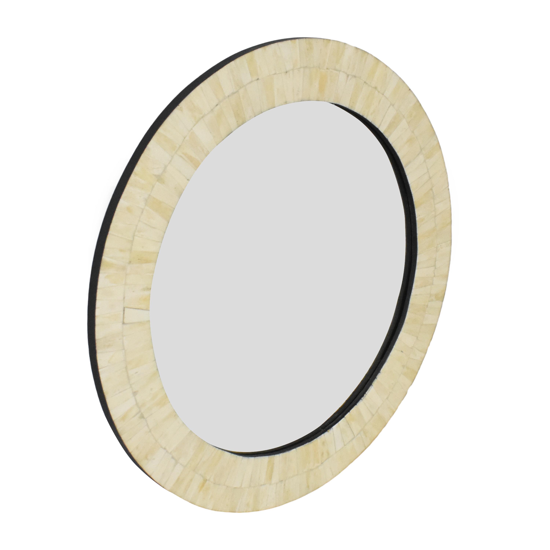 Framed Round Wall Mirror cream