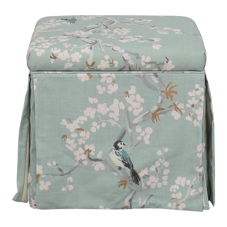 The Inside The Inside Mint Cherry Blossom Skirted Storage Ottoman nj