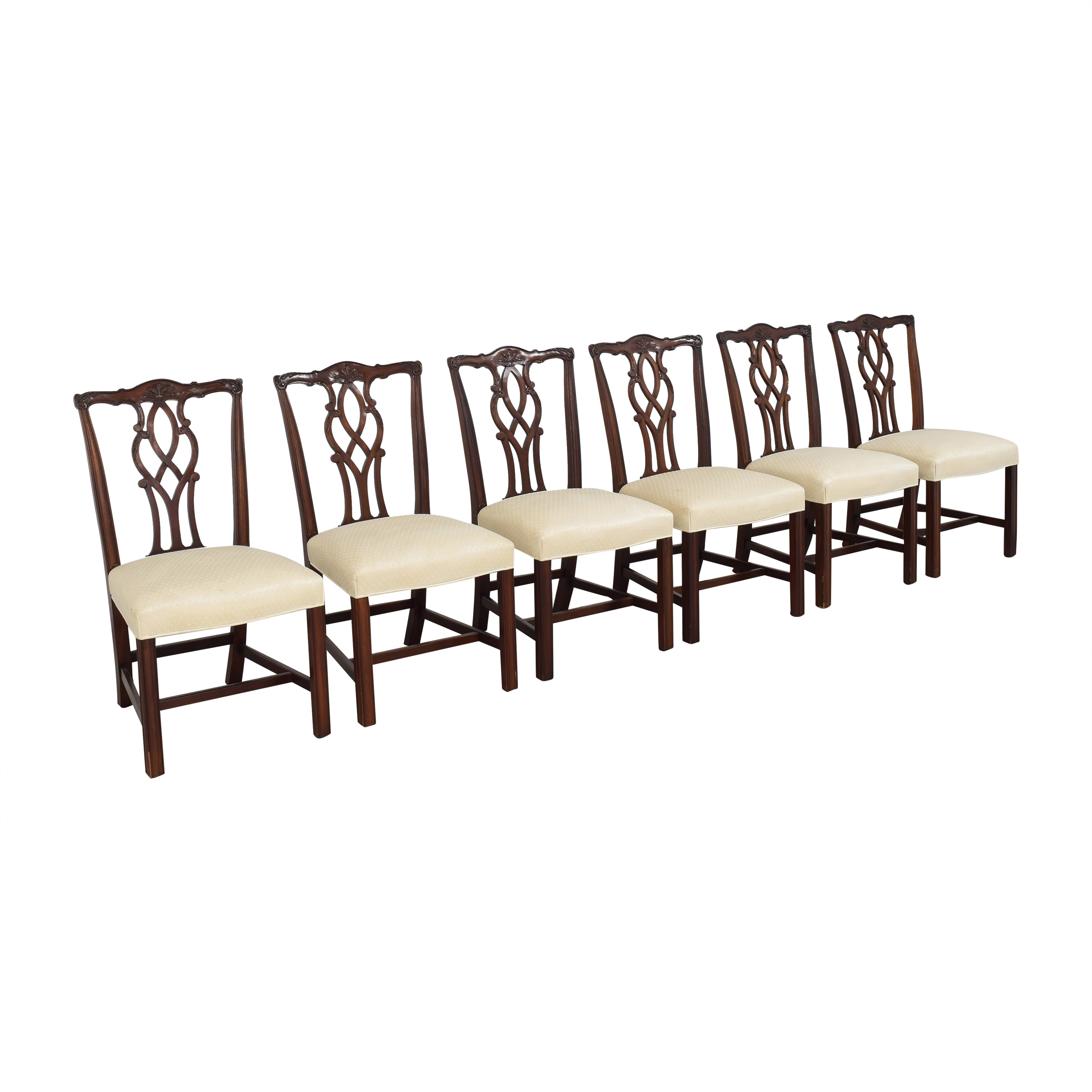 Kindel Kindel Chippendale Dining Side Chairs dark brown and off white