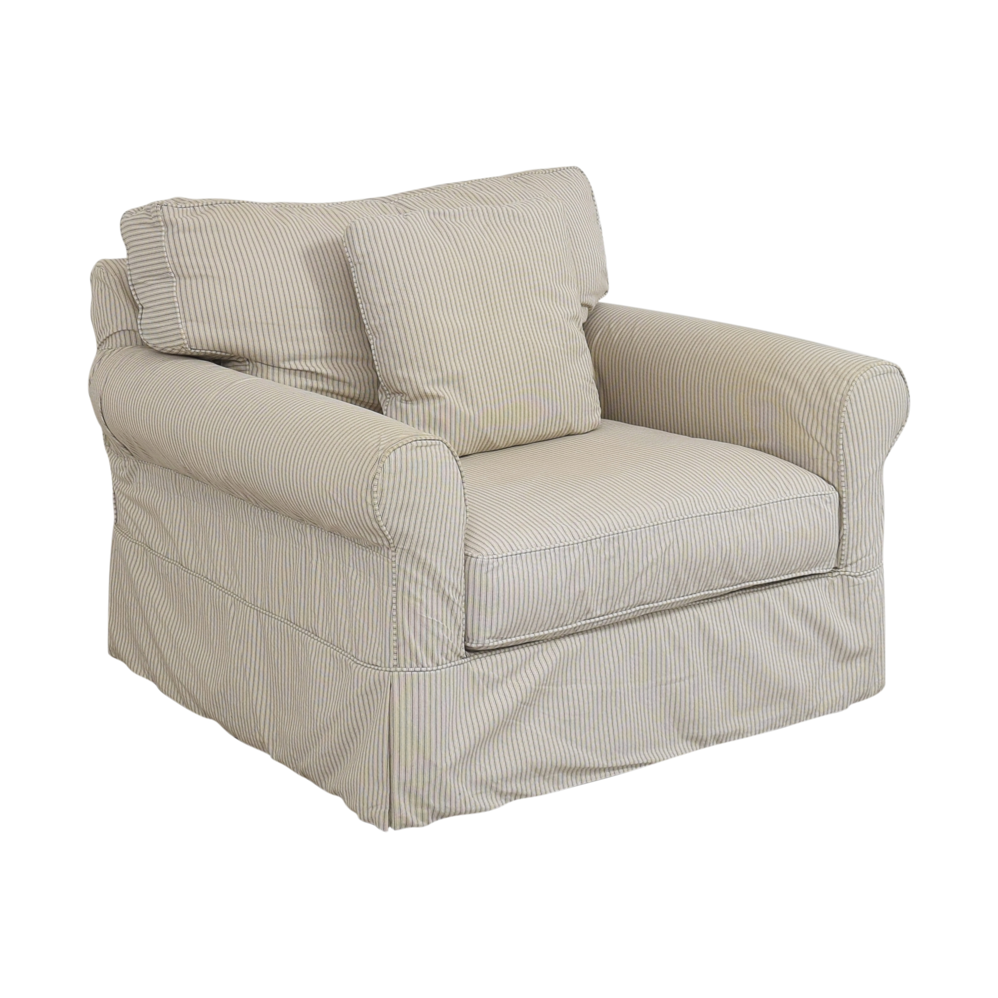 buy Crate & Barrel Slipcovered Chair and a Half Crate & Barrel Chairs