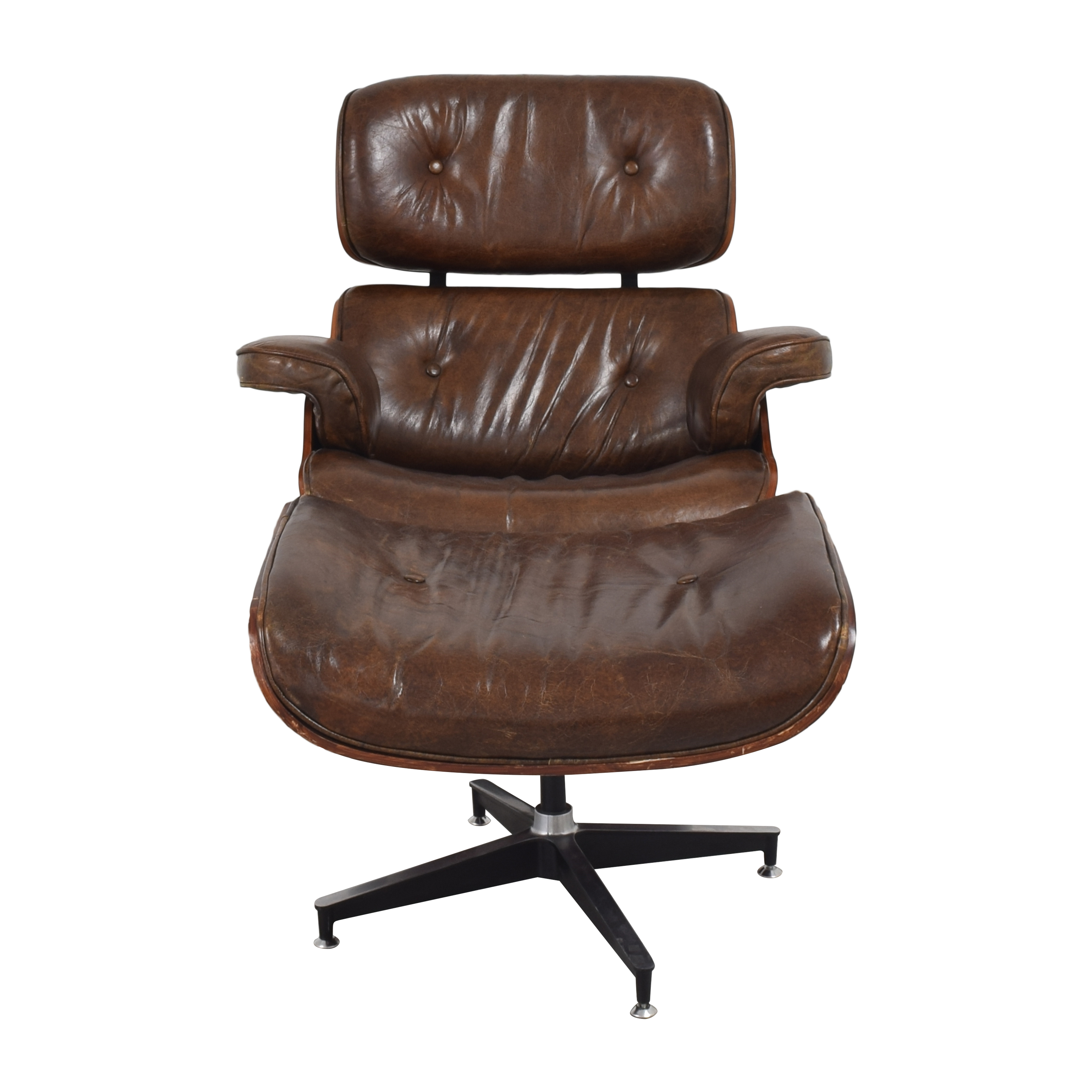 Eames-Style Chair with Ottoman brown