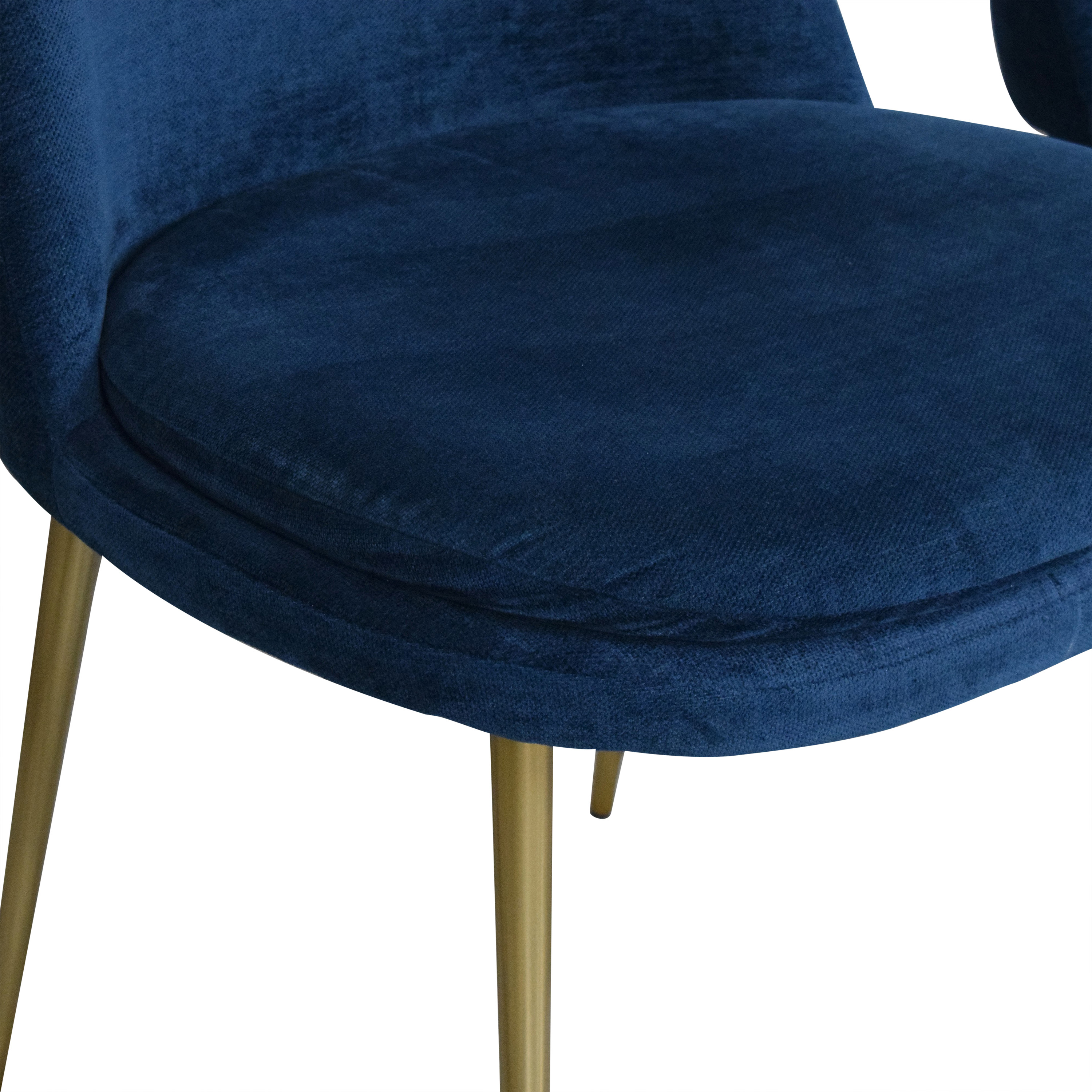 West Elm West Elm Mid-Century Upholstered Dining Chairs blue & gold