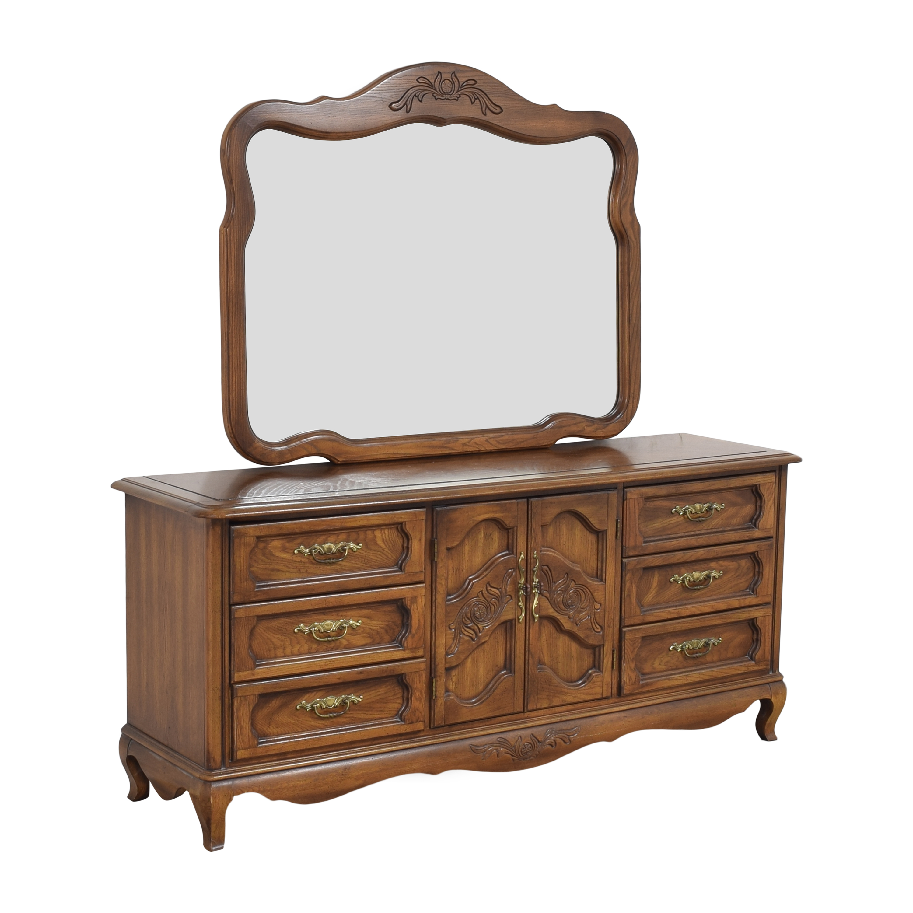 Huffman Koos Huffman Koos French Provincial Wide Dresser with Mirror nyc