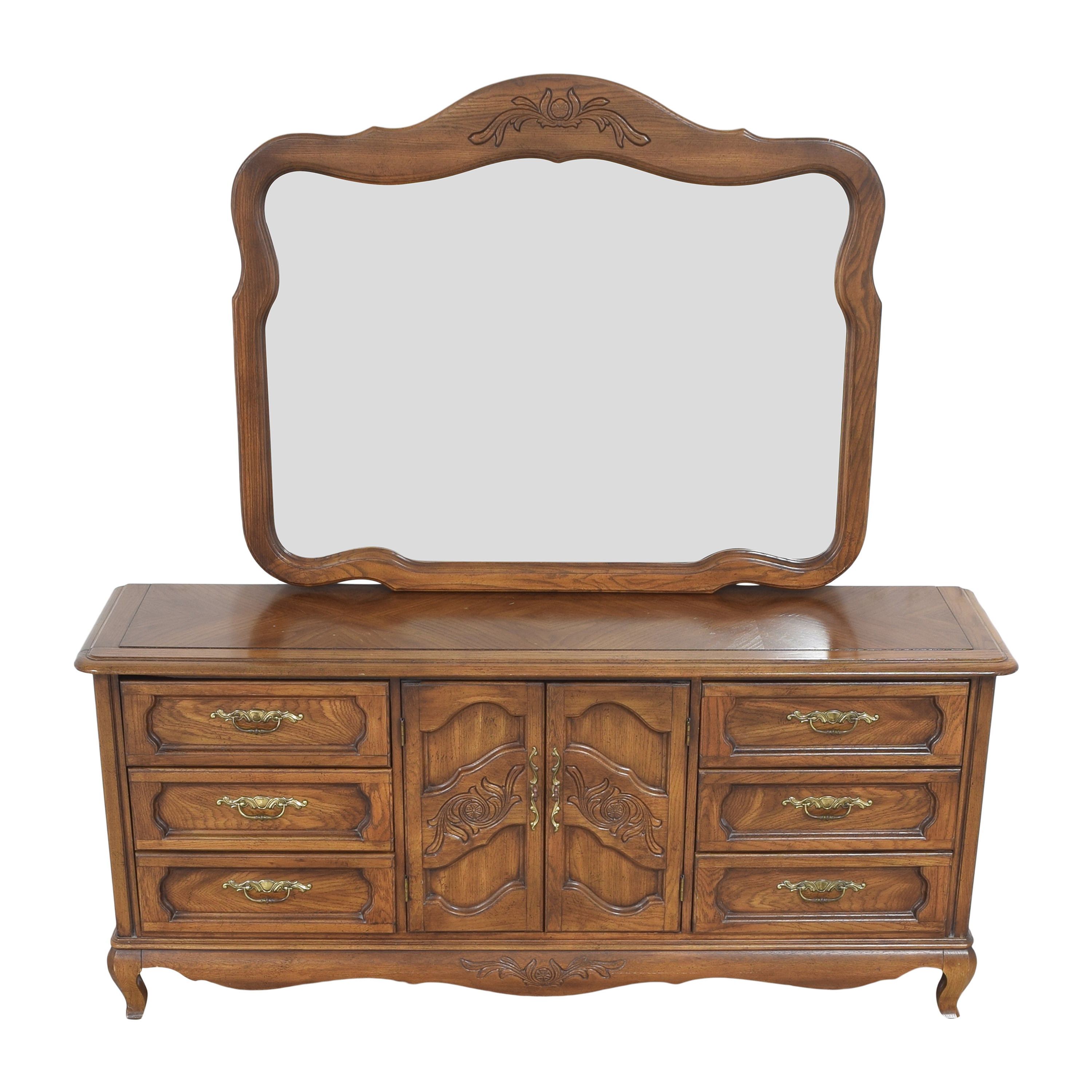 shop Huffman Koos French Provincial Wide Dresser with Mirror Huffman Koos Storage