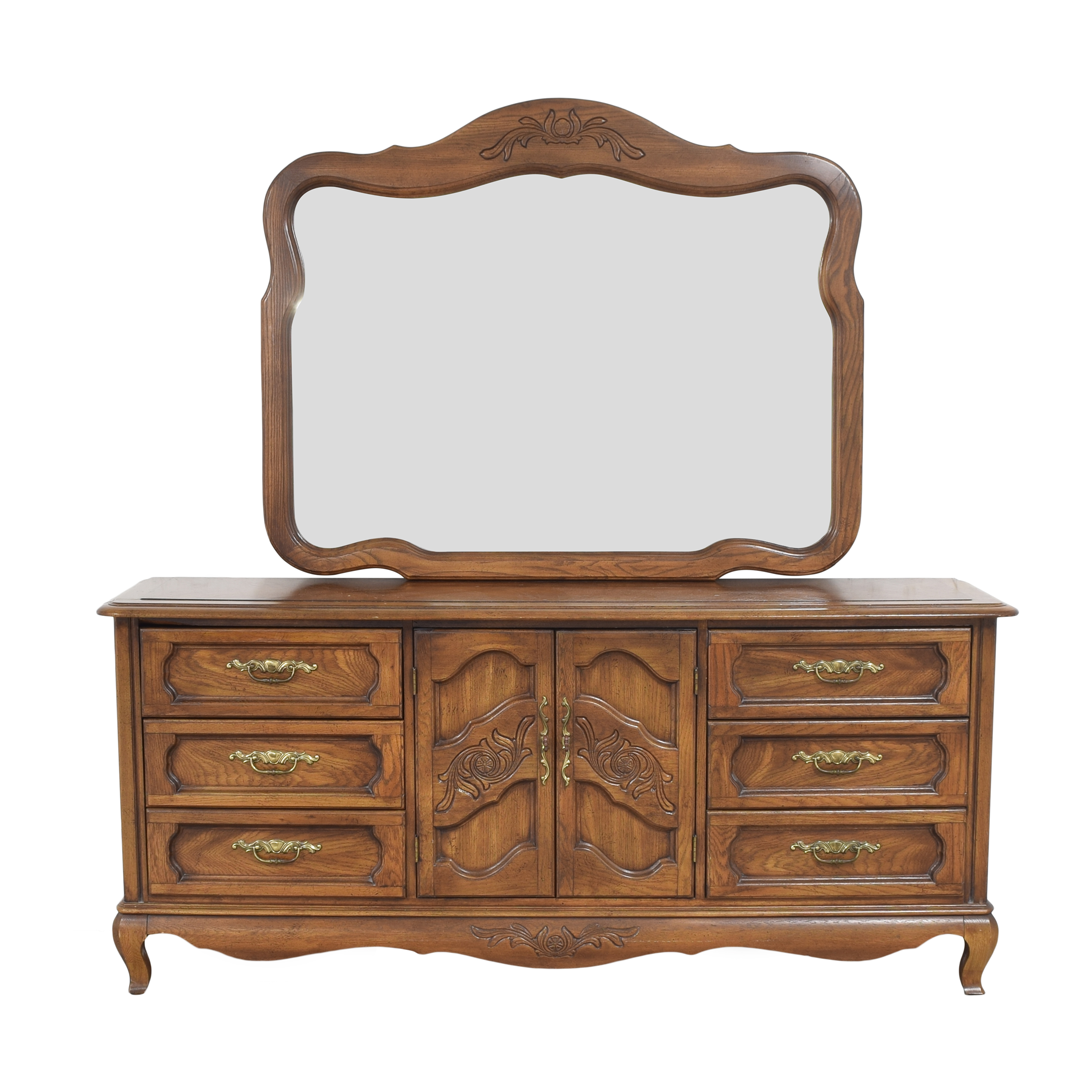 Huffman Koos Huffman Koos French Provincial Wide Dresser with Mirror price