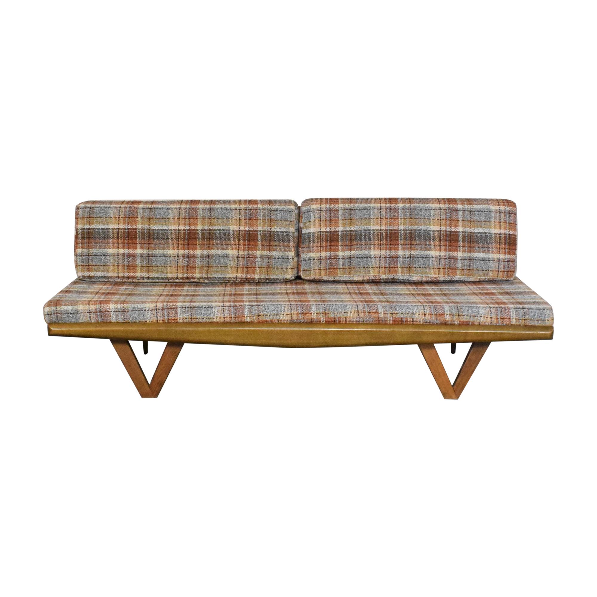 shop Plaid Mid Century Modern Platform Sofa