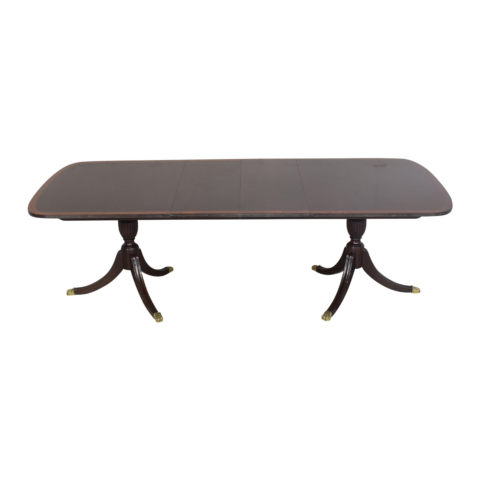 Stickley Furniture Stickley Furniture Extendable Double Pedestal Dining Table Brown