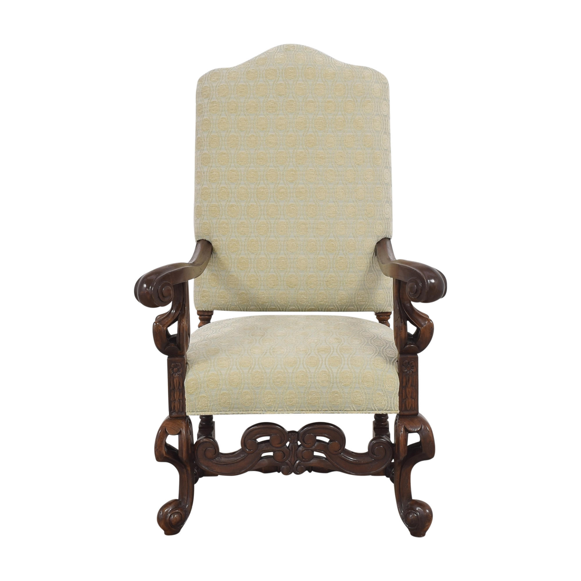 Louis XIV-Style Accent Chair light green and brown