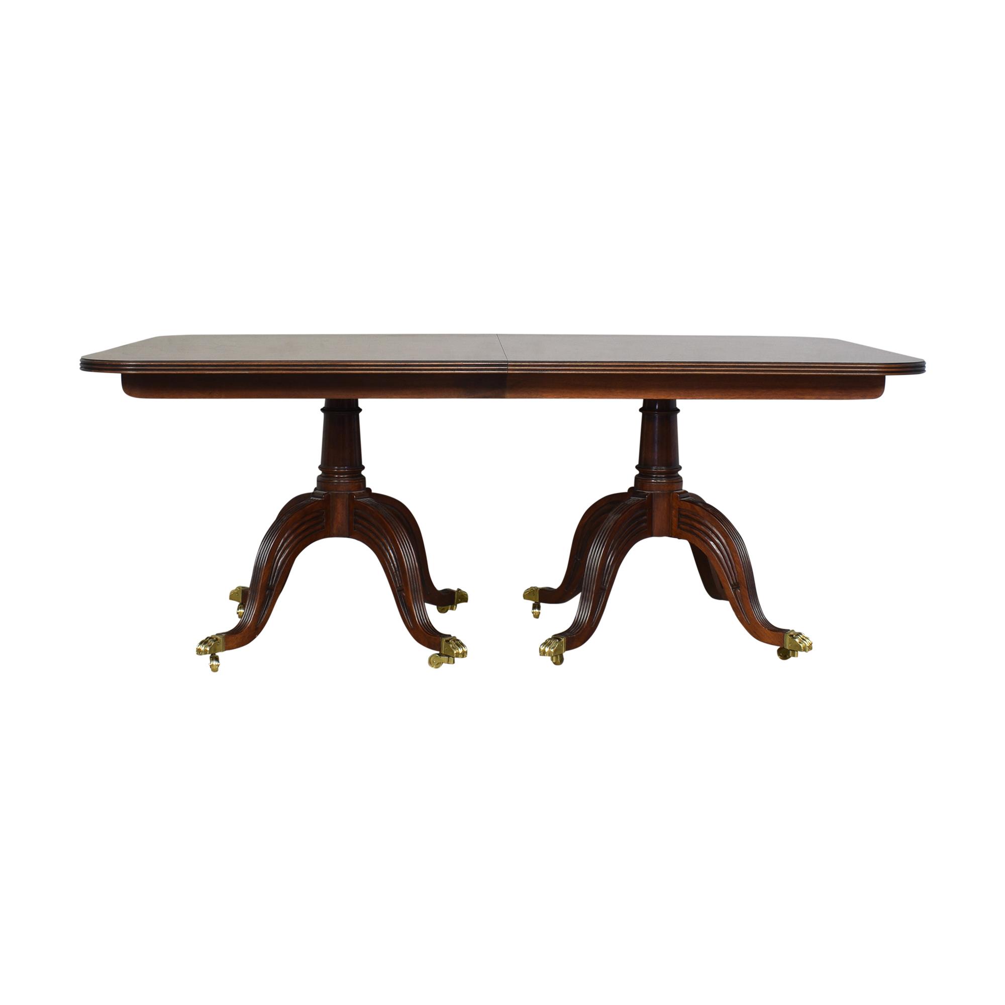 Henredon Furniture Henredon Double Pedestal Extendable Dining Table ct