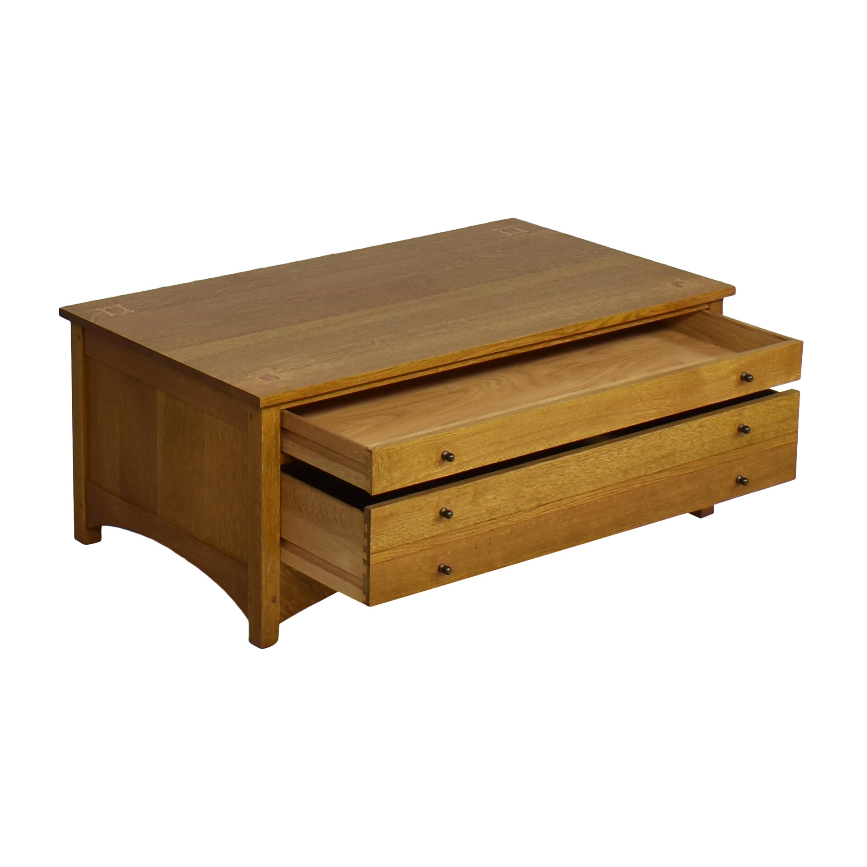 buy Stickley Harvey Ellis Rectangular Storage Cocktail Table Stickley Furniture Tables