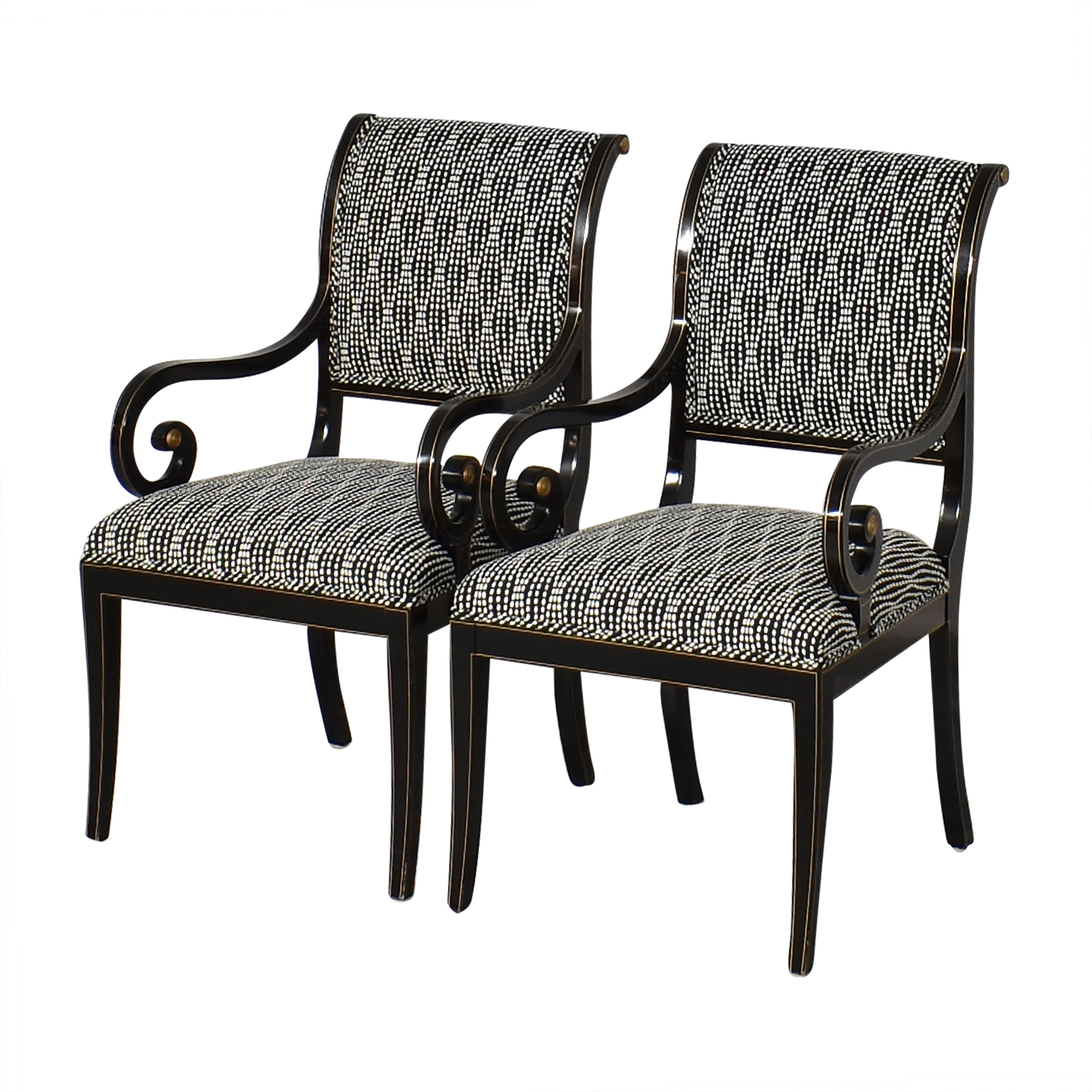 Kindel Kindel Upholstered Dining Arm Chairs Black and White