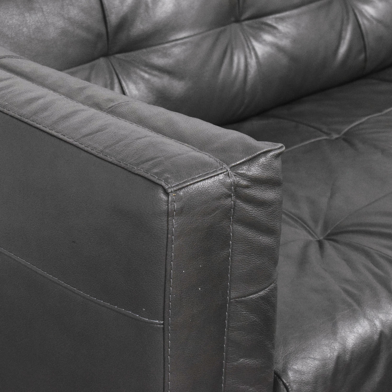shop Raymour & Flanigan Tufted Tuxedo Sofa with Ottoman Raymour & Flanigan