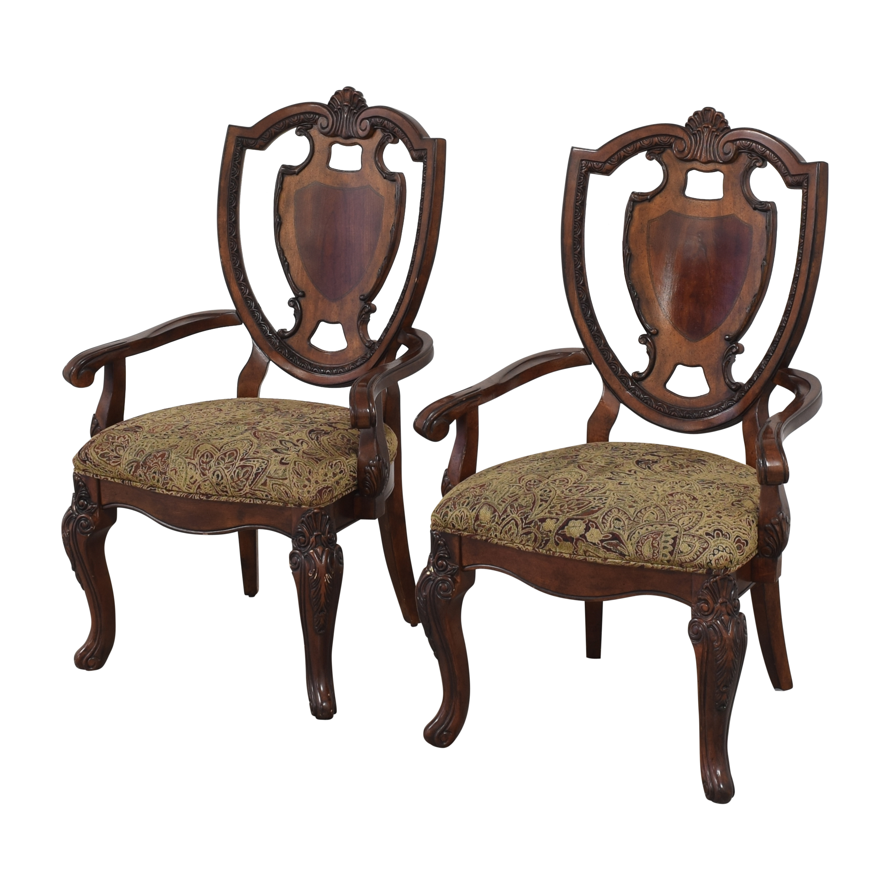 A.R.T. Furniture A.R.T. Furniture Old World Shield Back Dining Arm Chairs second hand