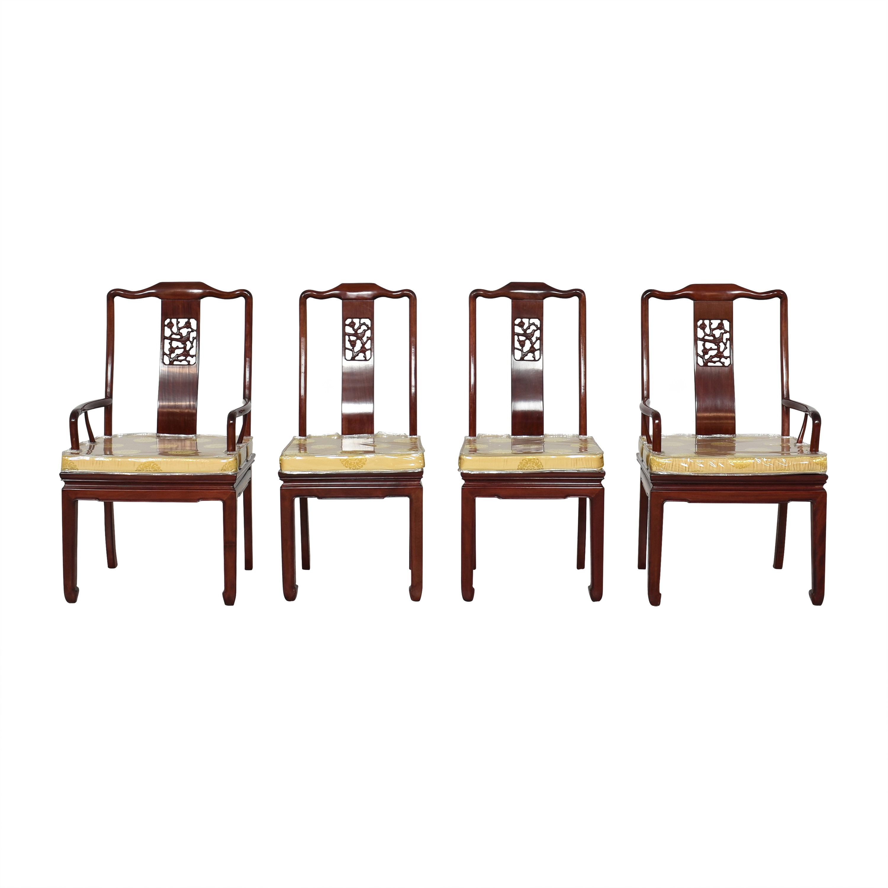 Chinoiserie Dining Chairs Brown and Beige