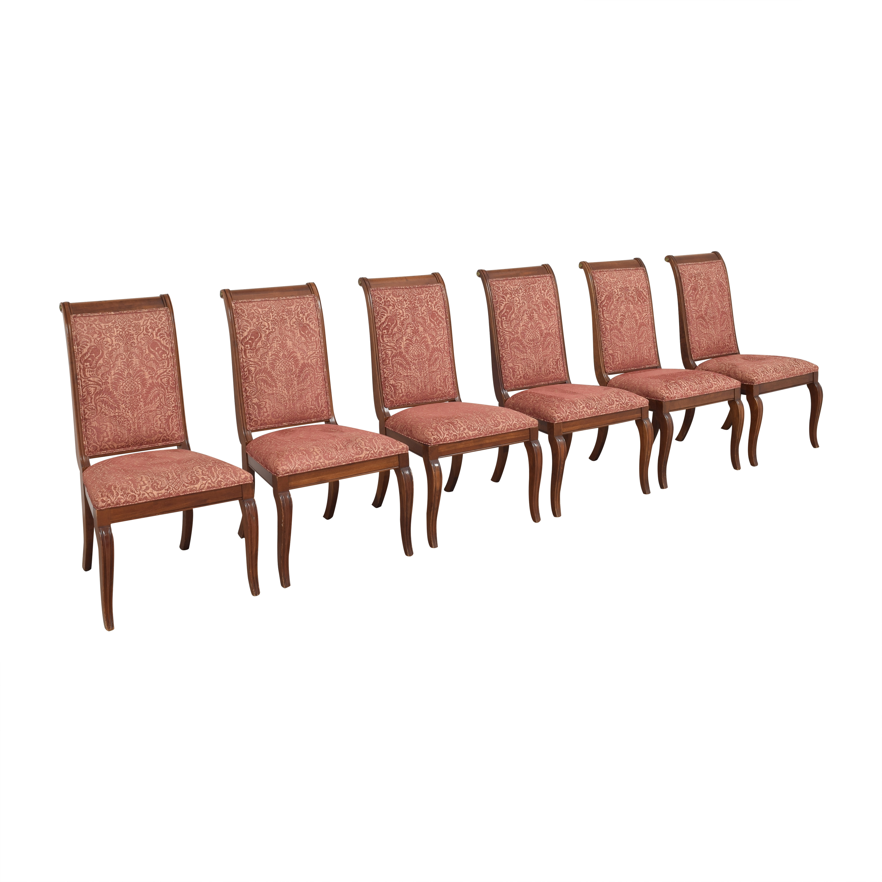 Ethan Allen Ethan Allen Upholstered Dining Side Chairs pink/red and brown