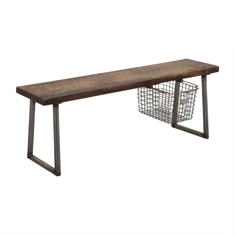 buy Urban Wood Goods Brooklyn Reclaimed Bench with Locker Basket Urban Wood Goods