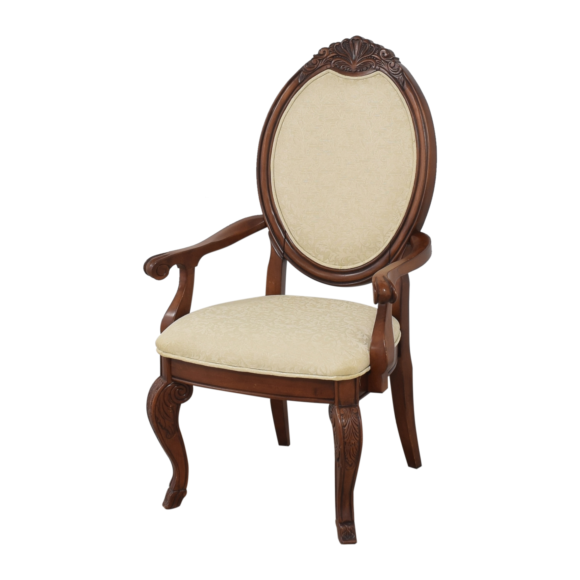Raymour & Flanigan Raymour & Flanigan Oval Back Dining Arm Chairs for sale