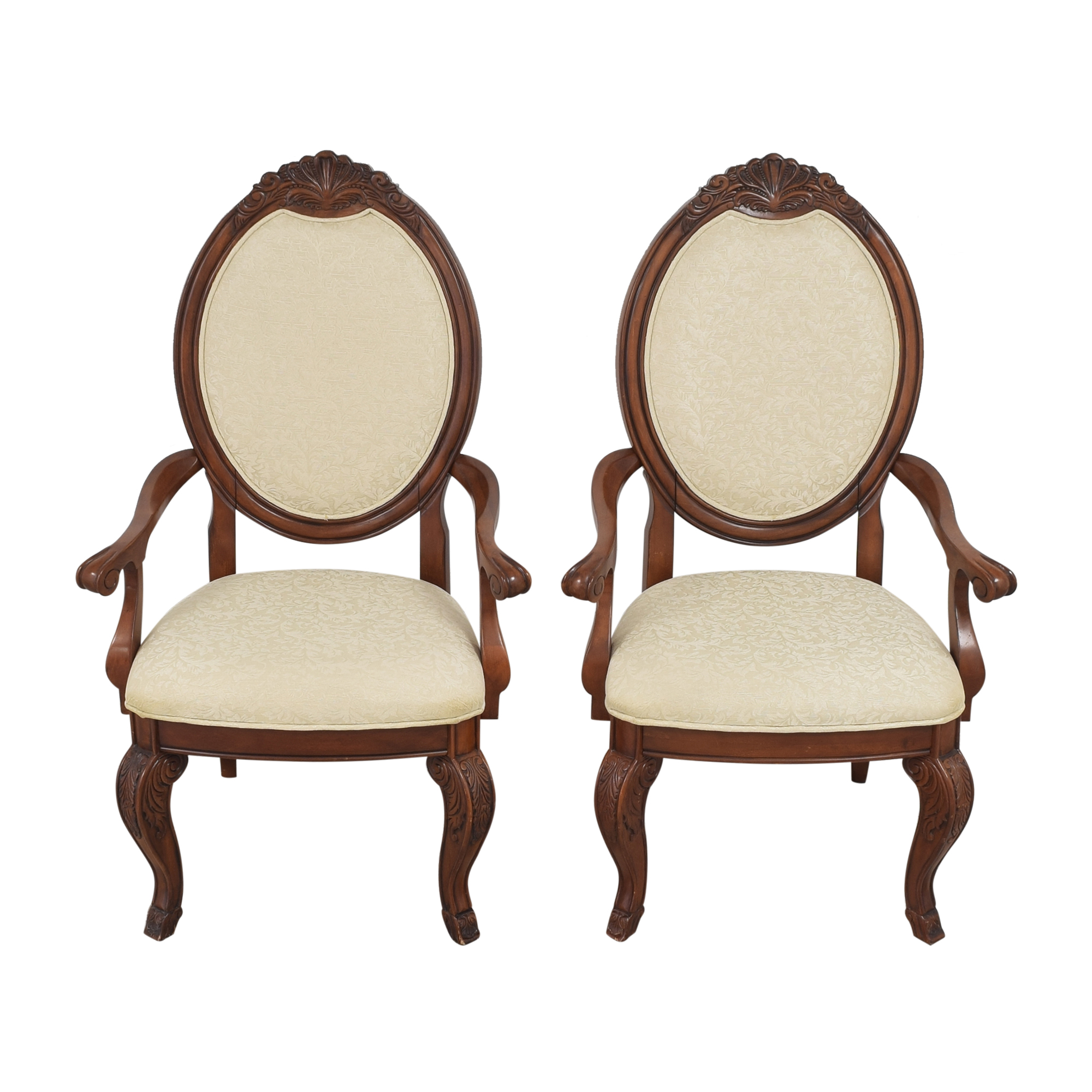 Raymour & Flanigan Raymour & Flanigan Oval Back Dining Arm Chairs