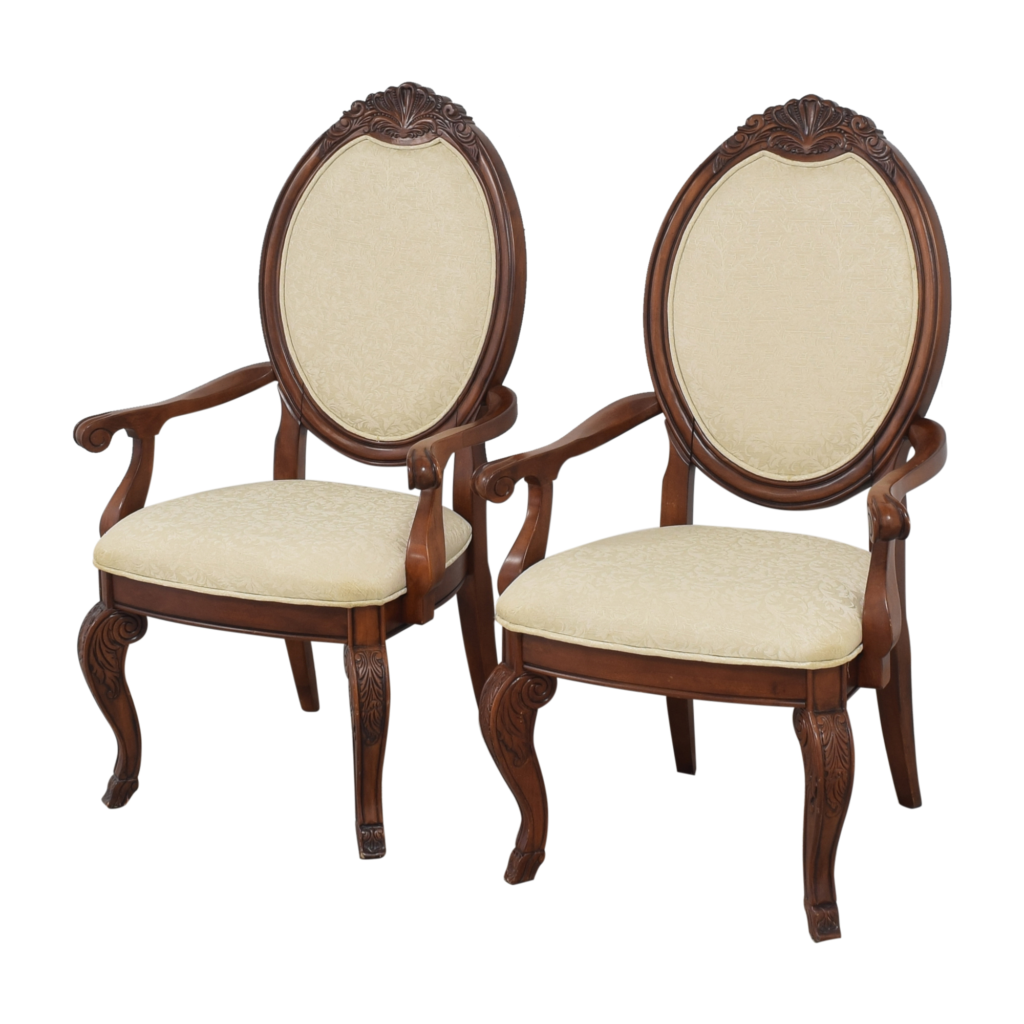 Raymour & Flanigan Raymour & Flanigan Oval Back Dining Arm Chairs nyc
