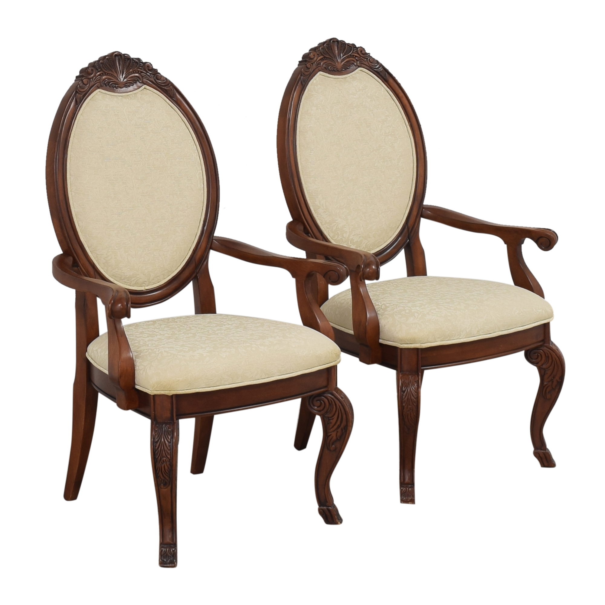 Raymour & Flanigan Oval Back Dining Arm Chairs Raymour & Flanigan
