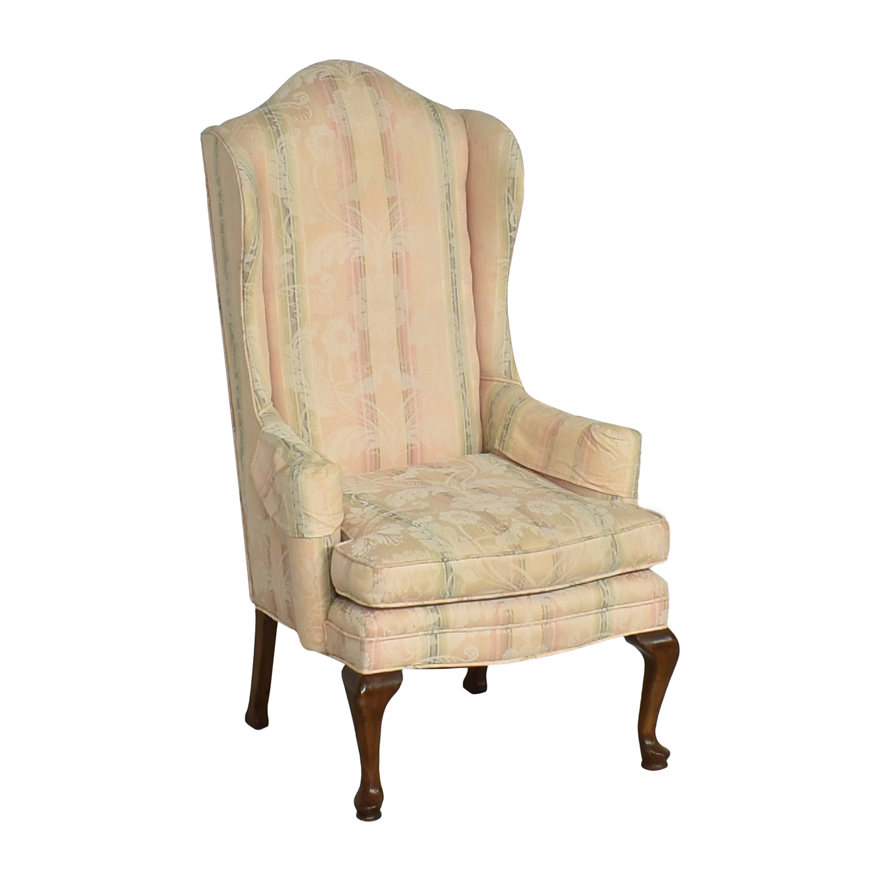 Custom Upholstered Queen Anne Wing Chair sale