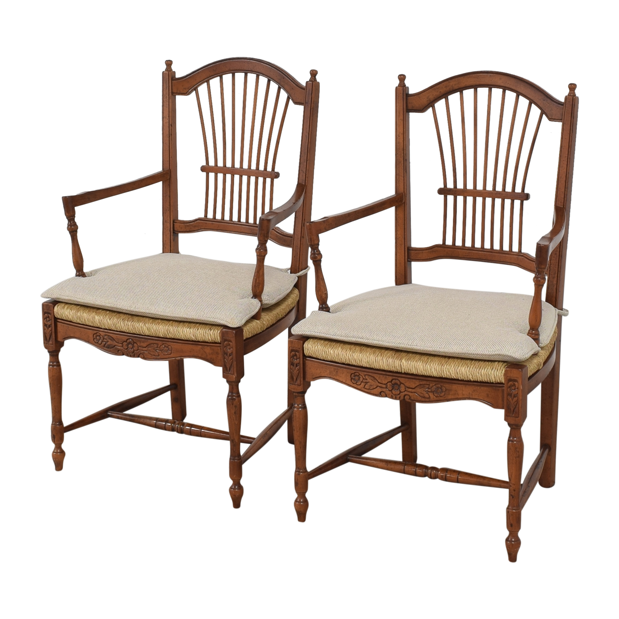 Bloomingdale's Bloomingdale's Wheat Back Dining Arm Chairs pa