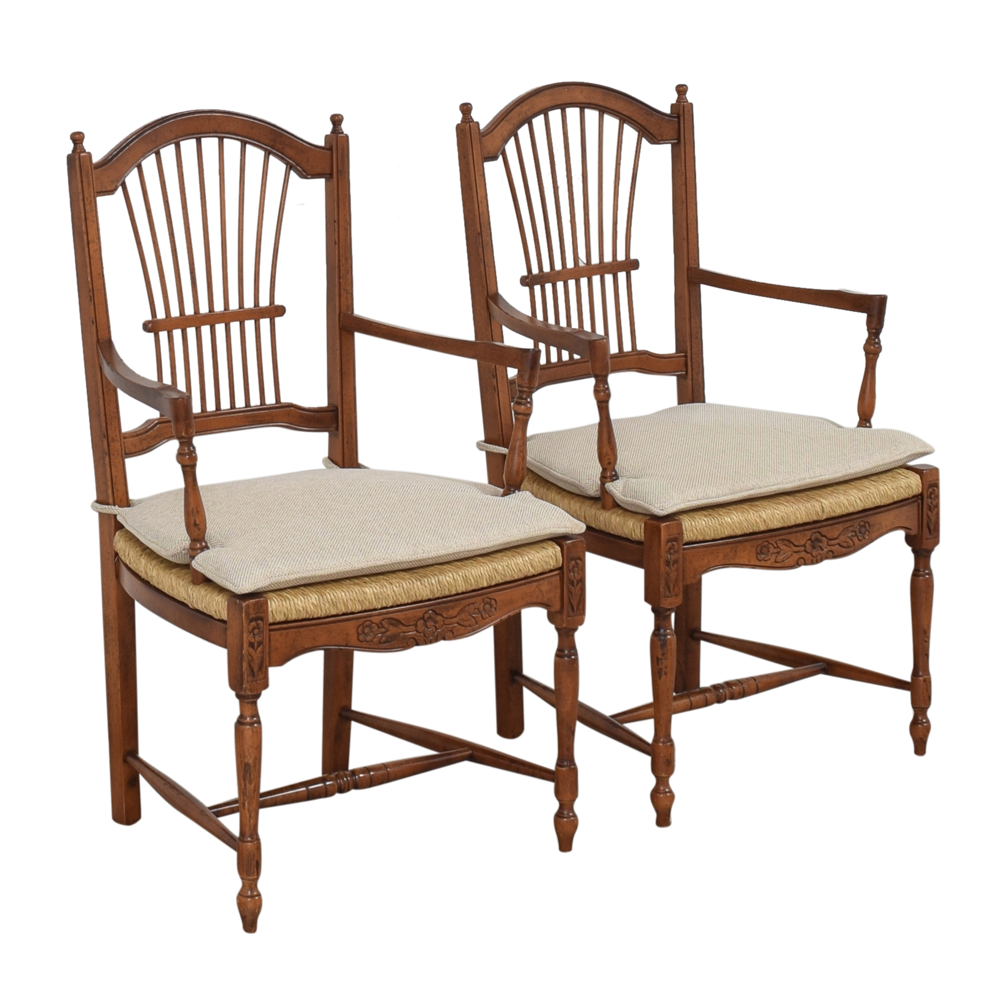 Bloomingdale's Wheat Back Dining Arm Chairs / Chairs