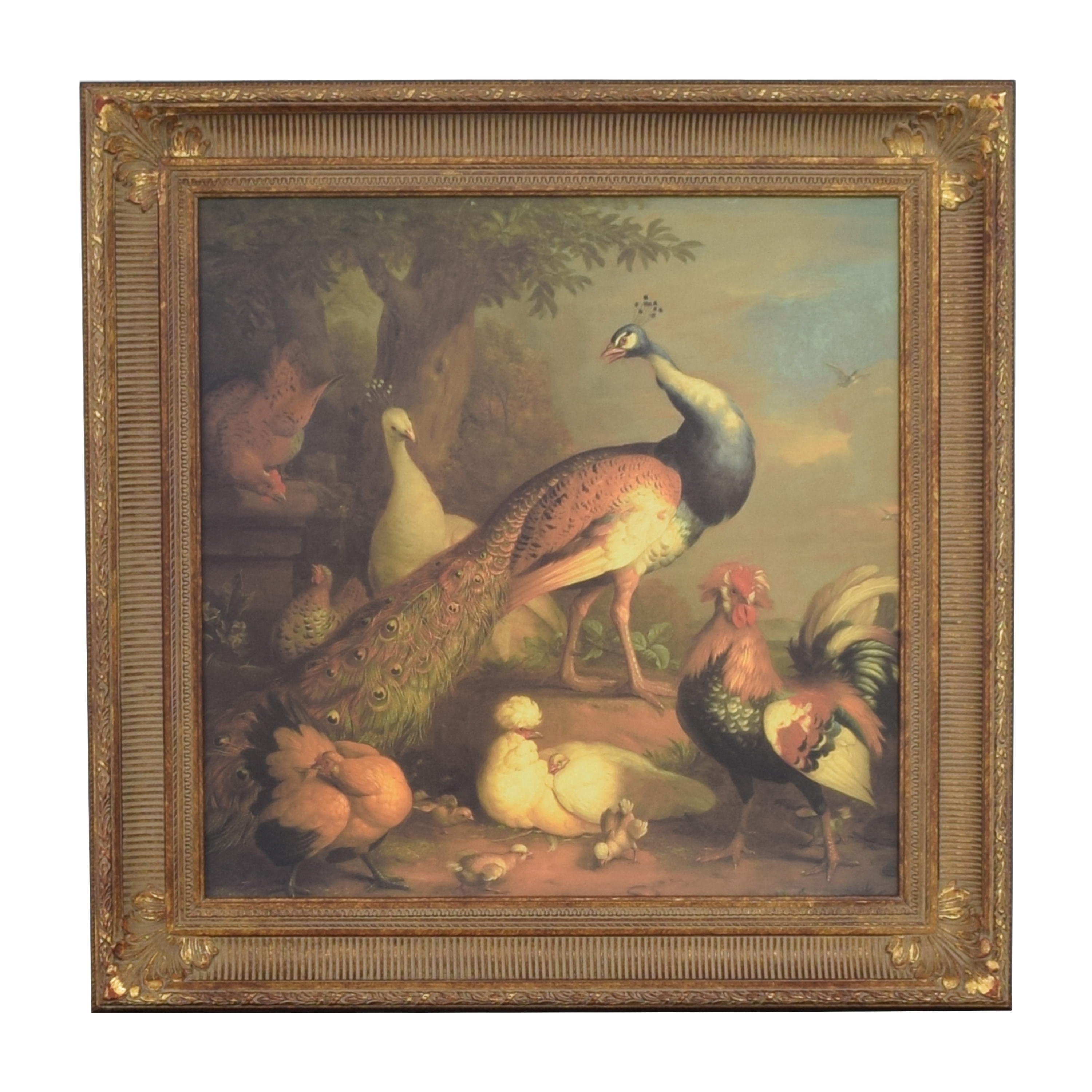 Ethan Allen Ethan Allen a Peacock, a Peahen, and Poultry in a Landscape Wall Art Wall Art