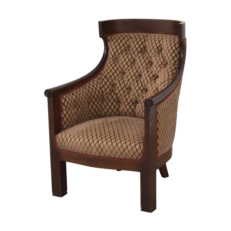Custom Klismos Tufted Arm Chair for sale