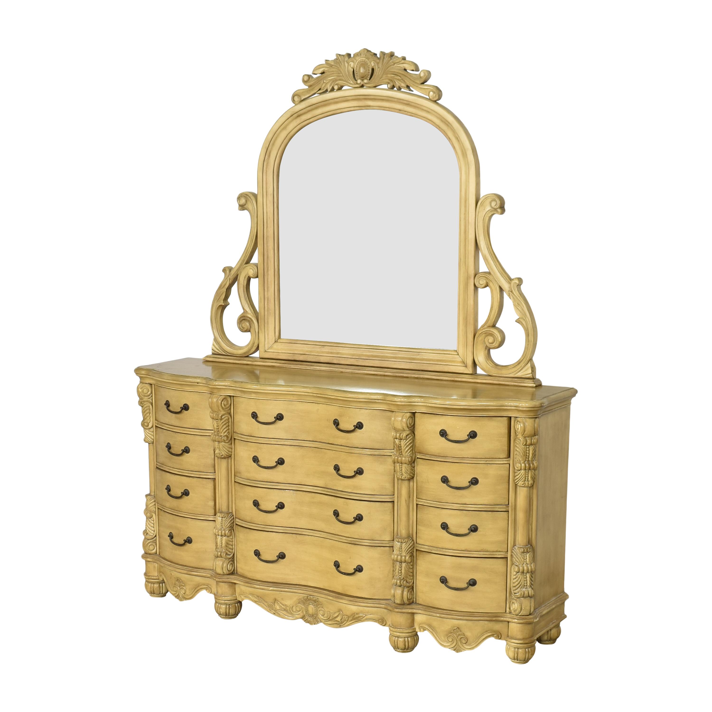 Twelve Drawer Triple Dresser with Mirror used