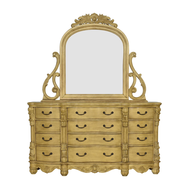 Twelve Drawer Triple Dresser with Mirror on sale