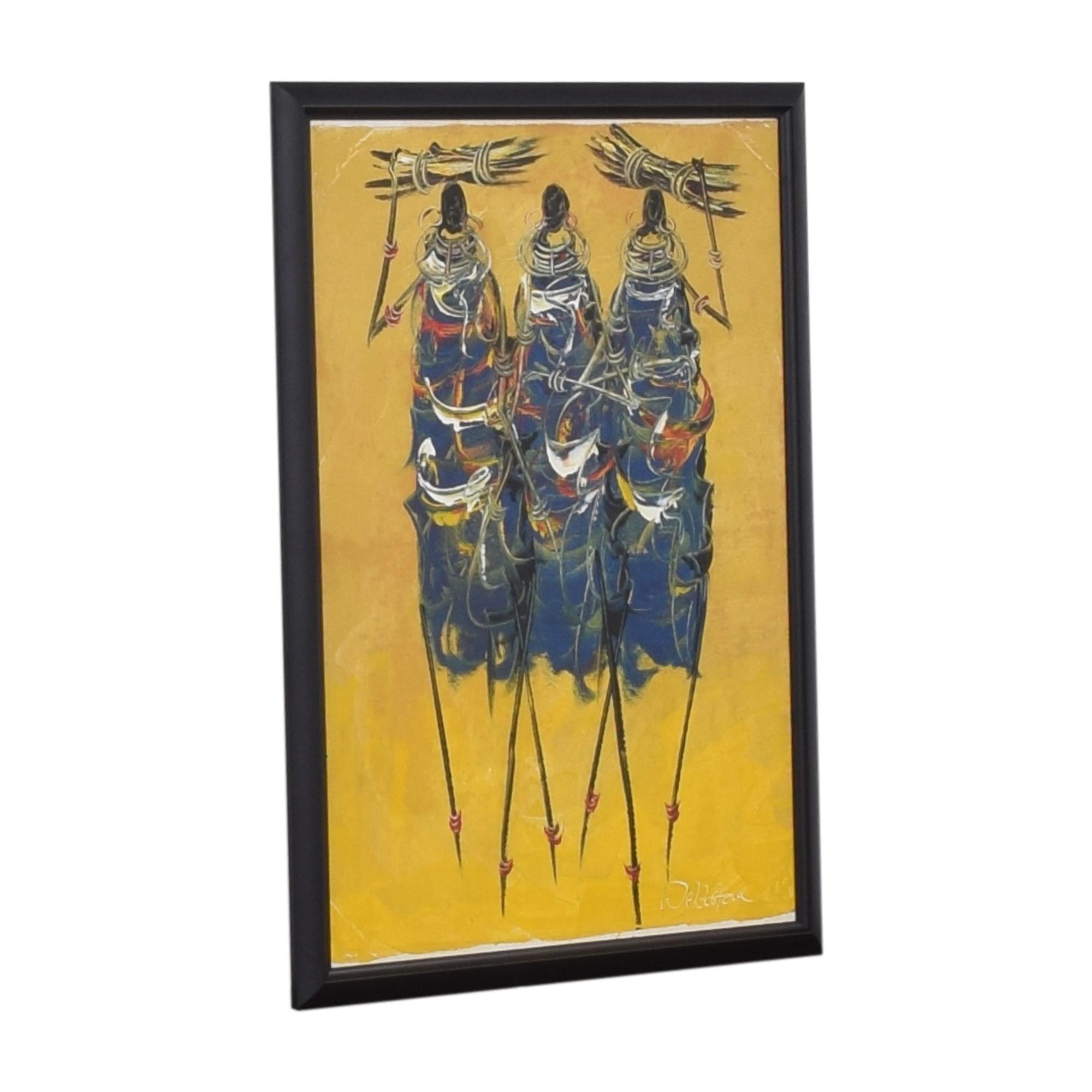 Framed Wall Art Yellow / Mullti