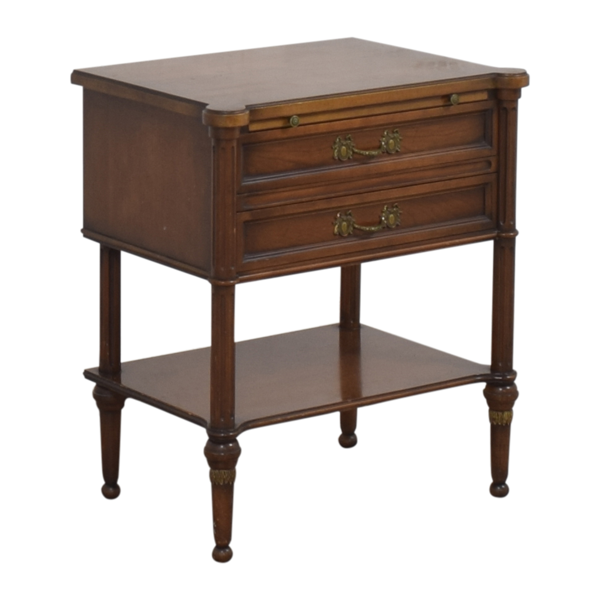 Two Drawer End Table with Desk Extension Tables
