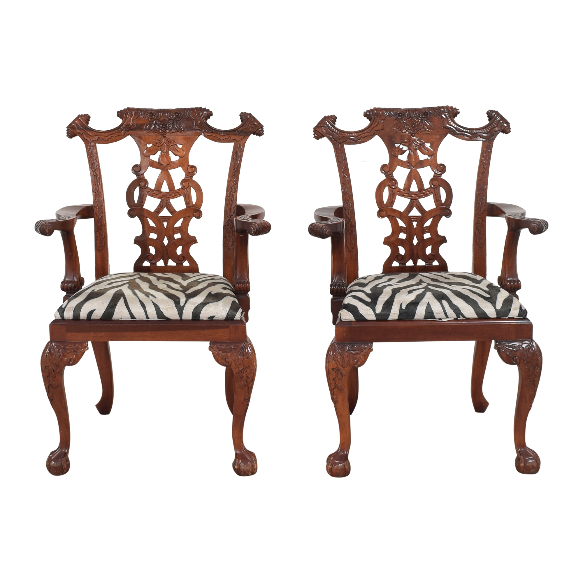 buy Animal Print Upholstered Dining Arm Chairs  Chairs
