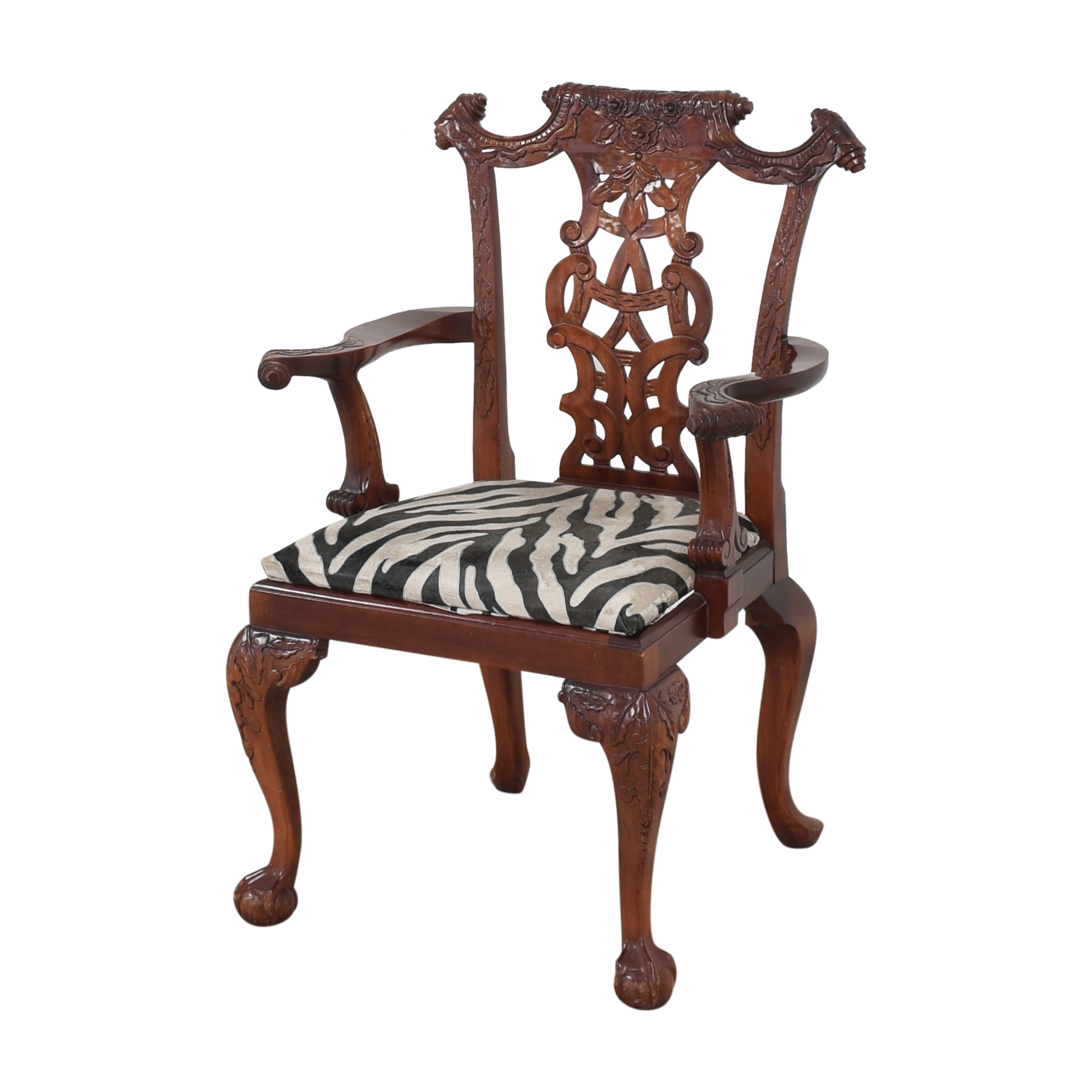 Animal Print Upholstered Dining Arm Chairs discount