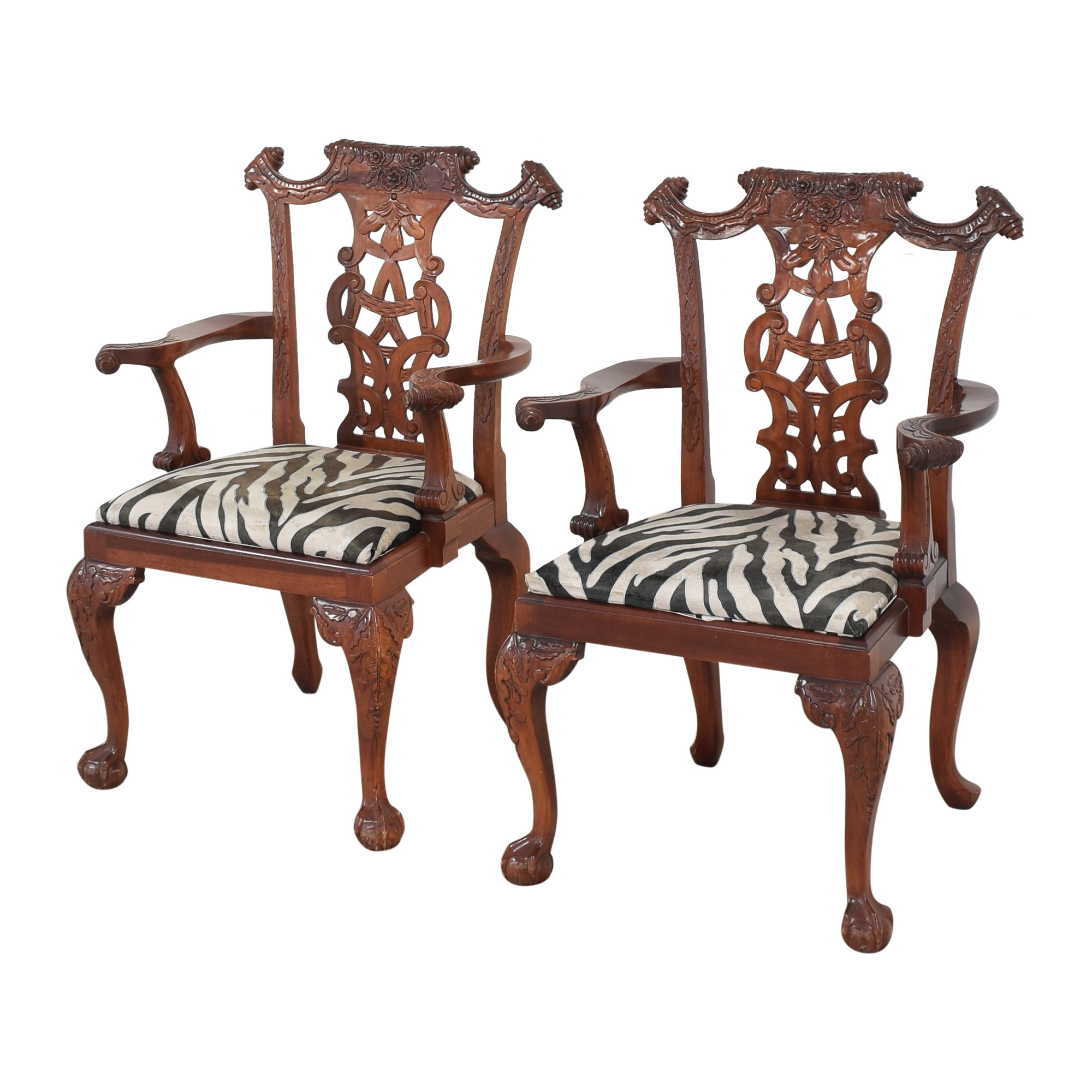 Animal Print Upholstered Dining Arm Chairs nj