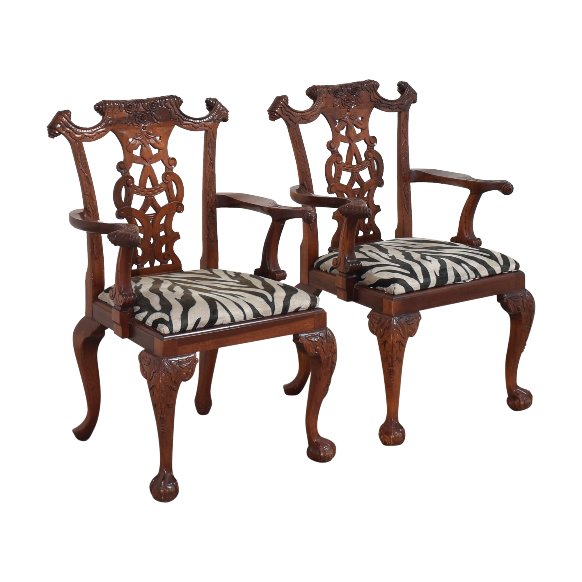 Animal Print Upholstered Dining Arm Chairs pa