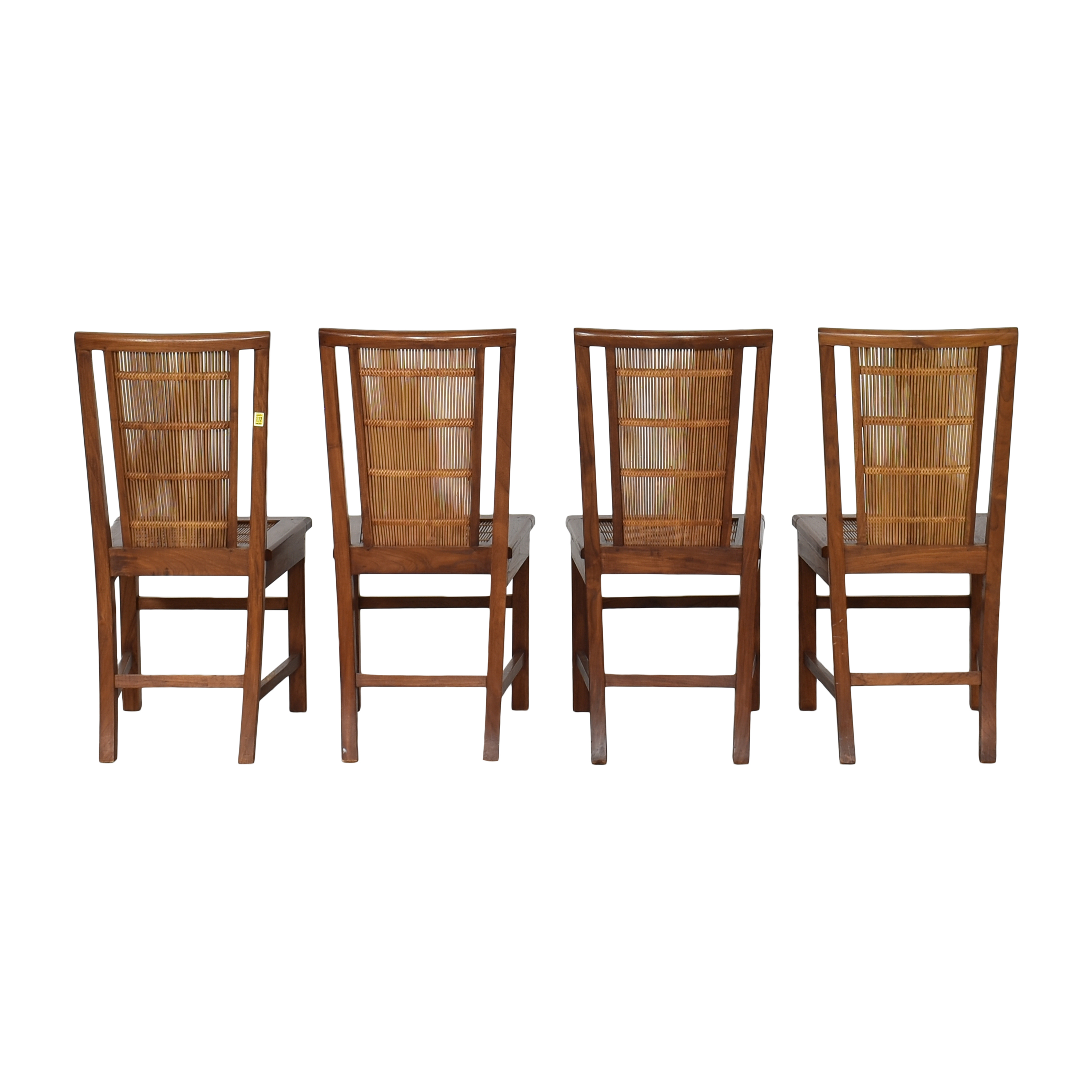 Woven Back Dining Side Chairs Brown