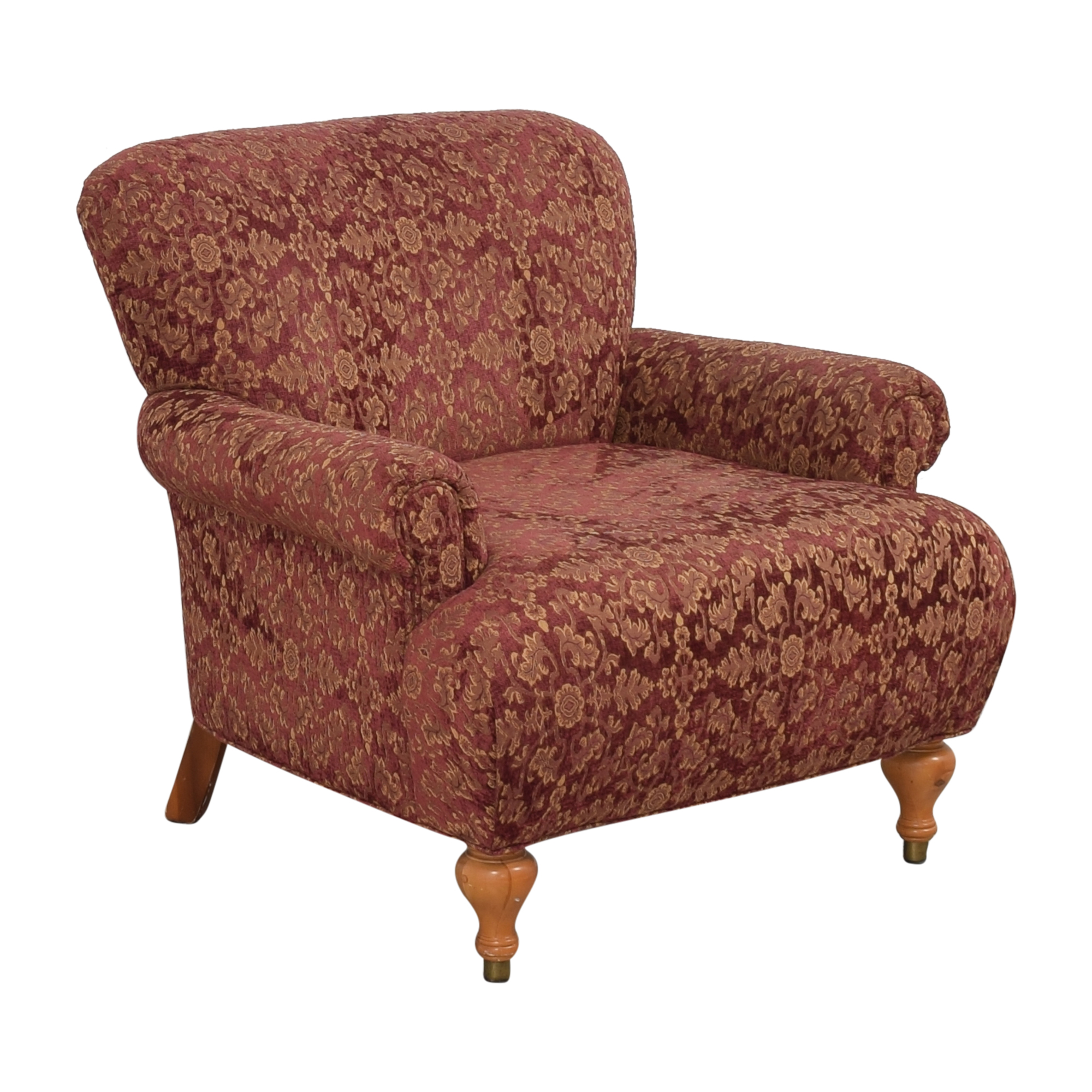 Roll Arm Accent Chair red & gold