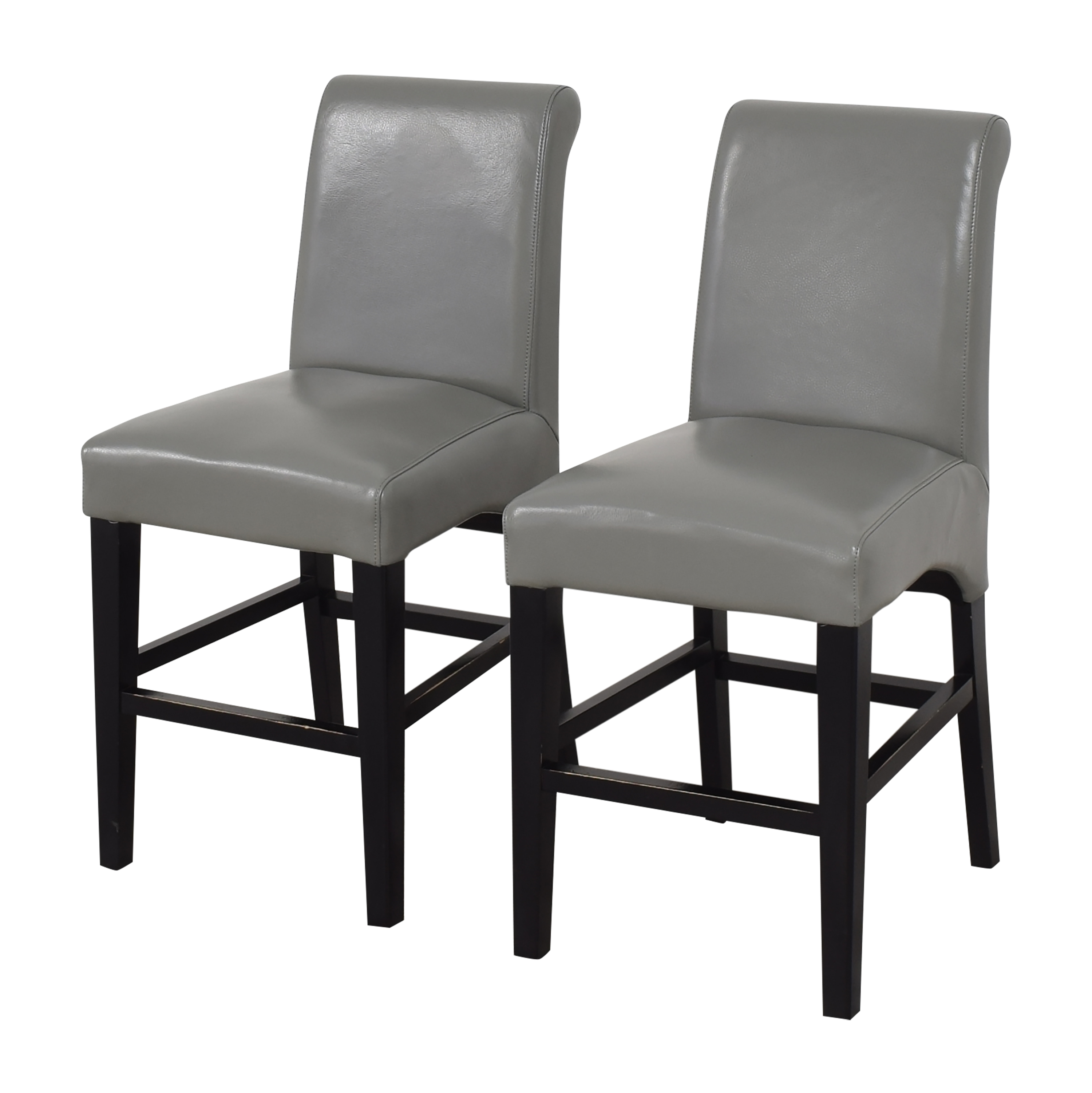 Upholstered Scroll Back Counter Stools gray and black