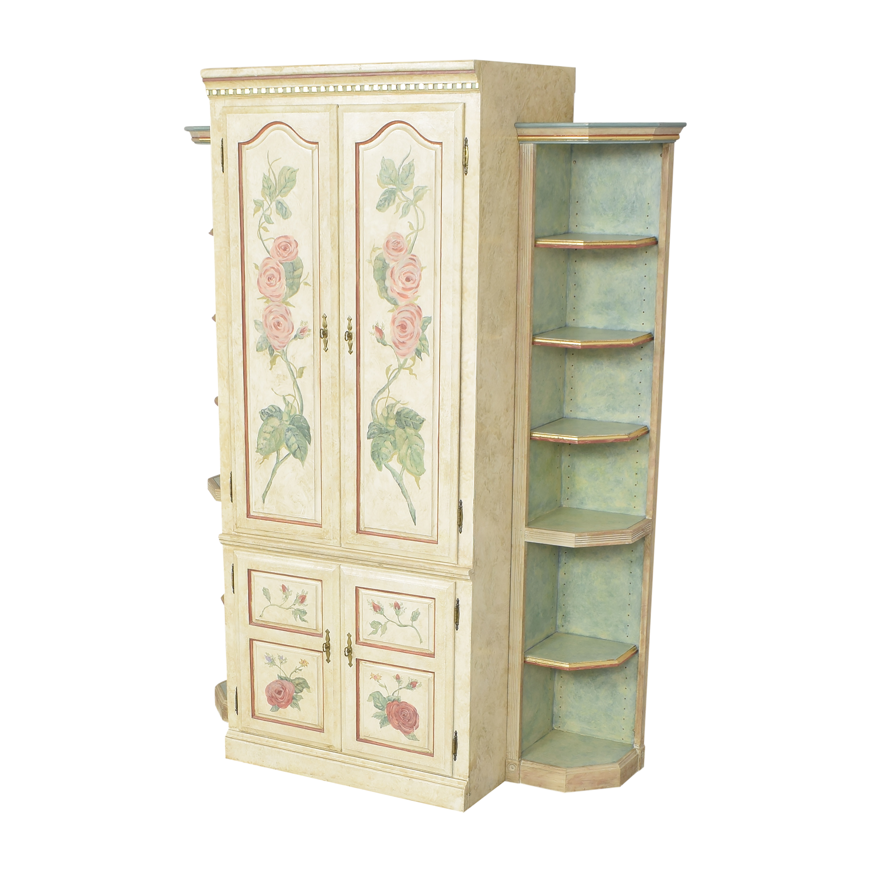 Floral Armoire with Shelves on sale