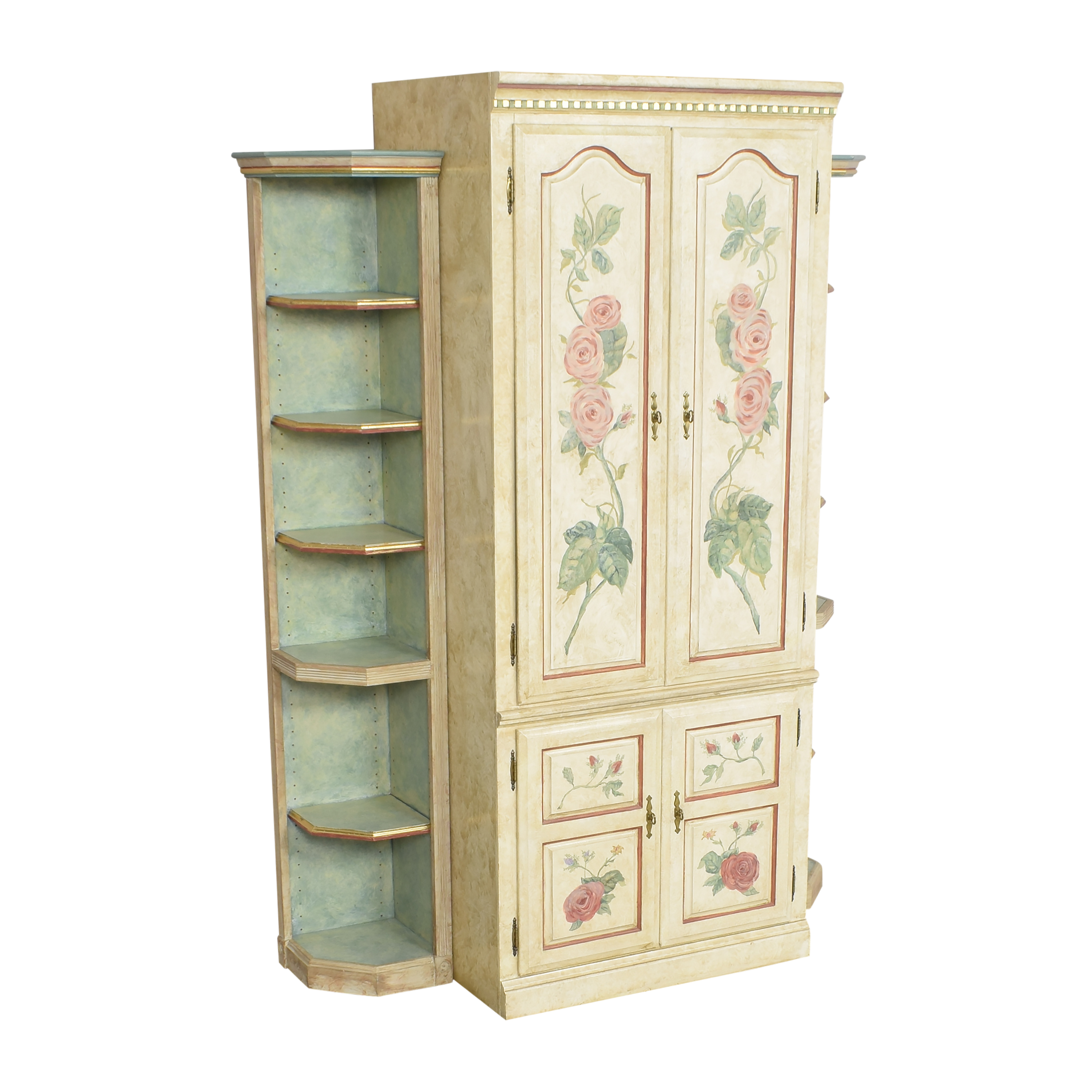 Floral Armoire with Shelves Storage
