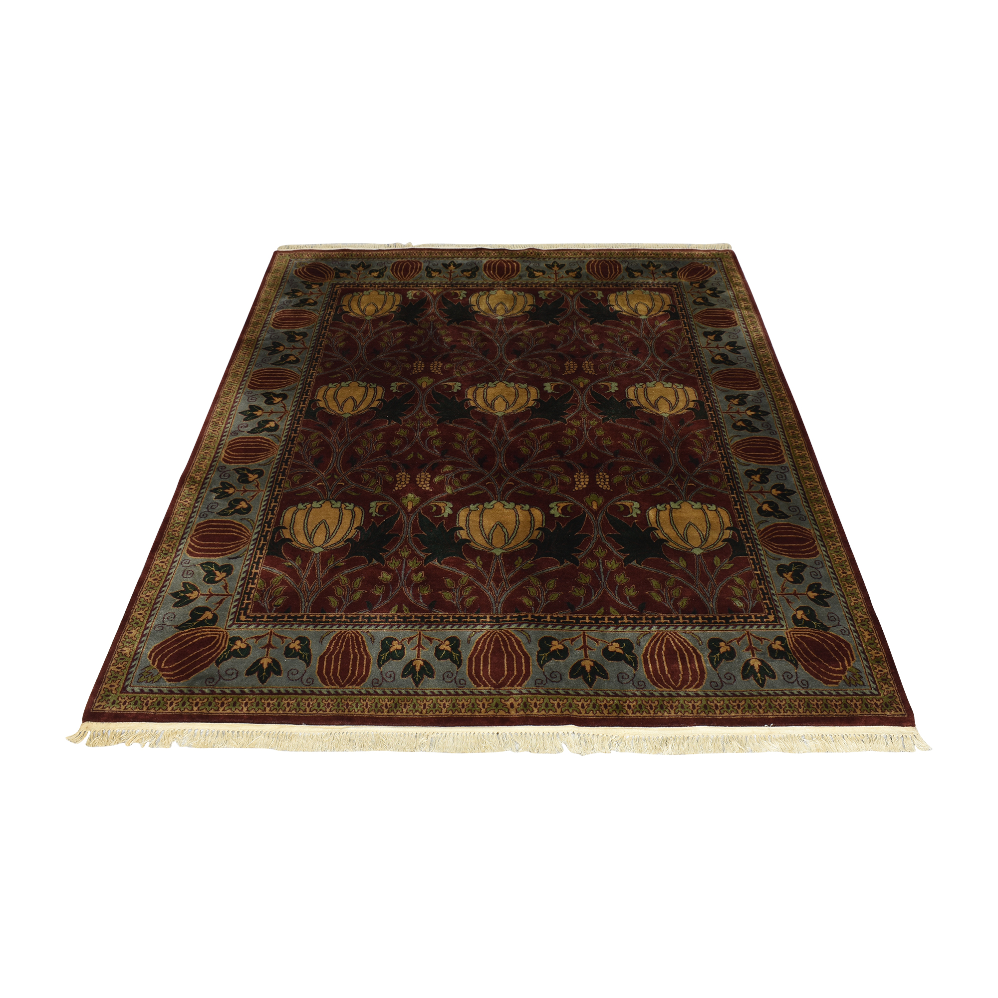 Patterned Area Rug with Fringe discount
