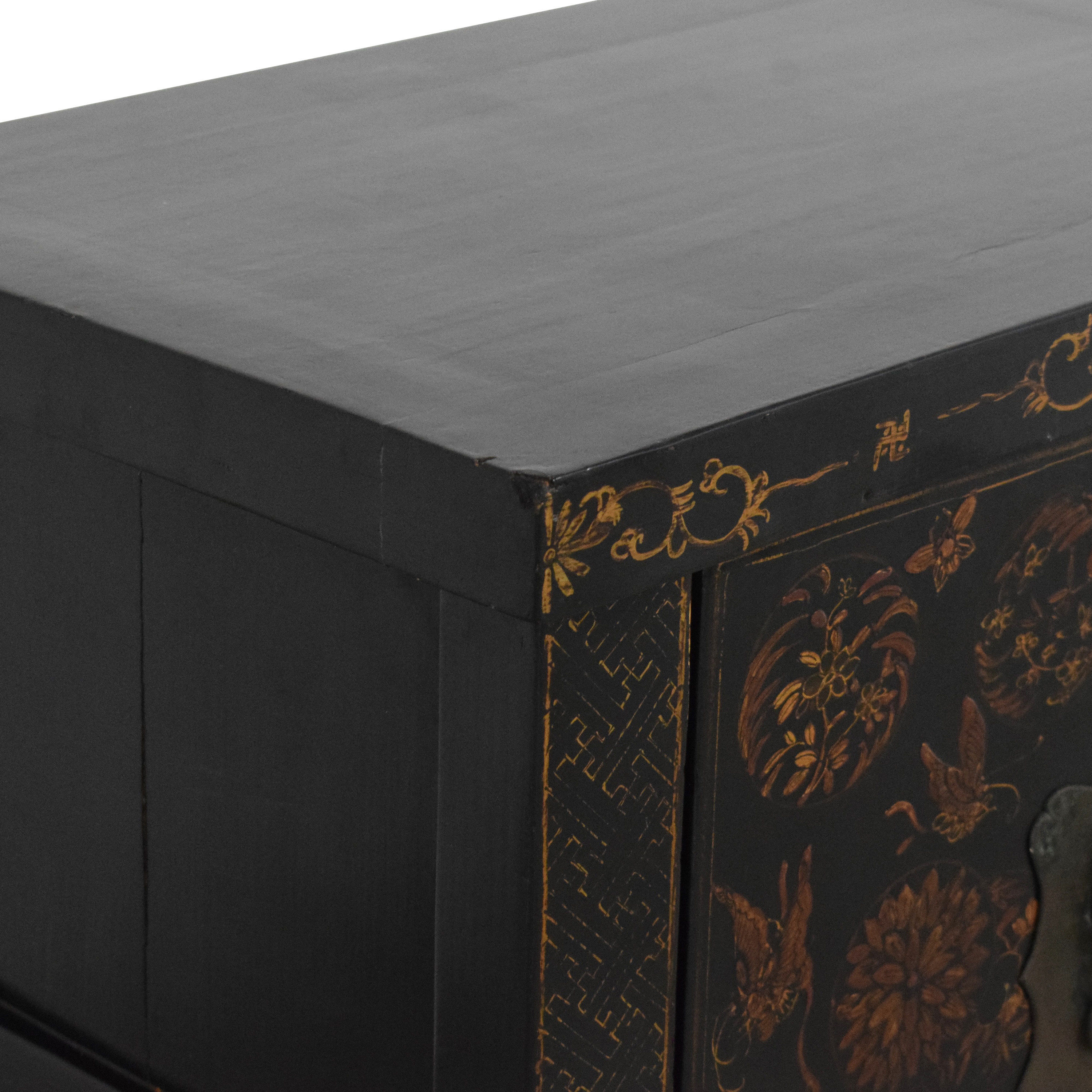 Japanese-Style End Table Cabinet Storage