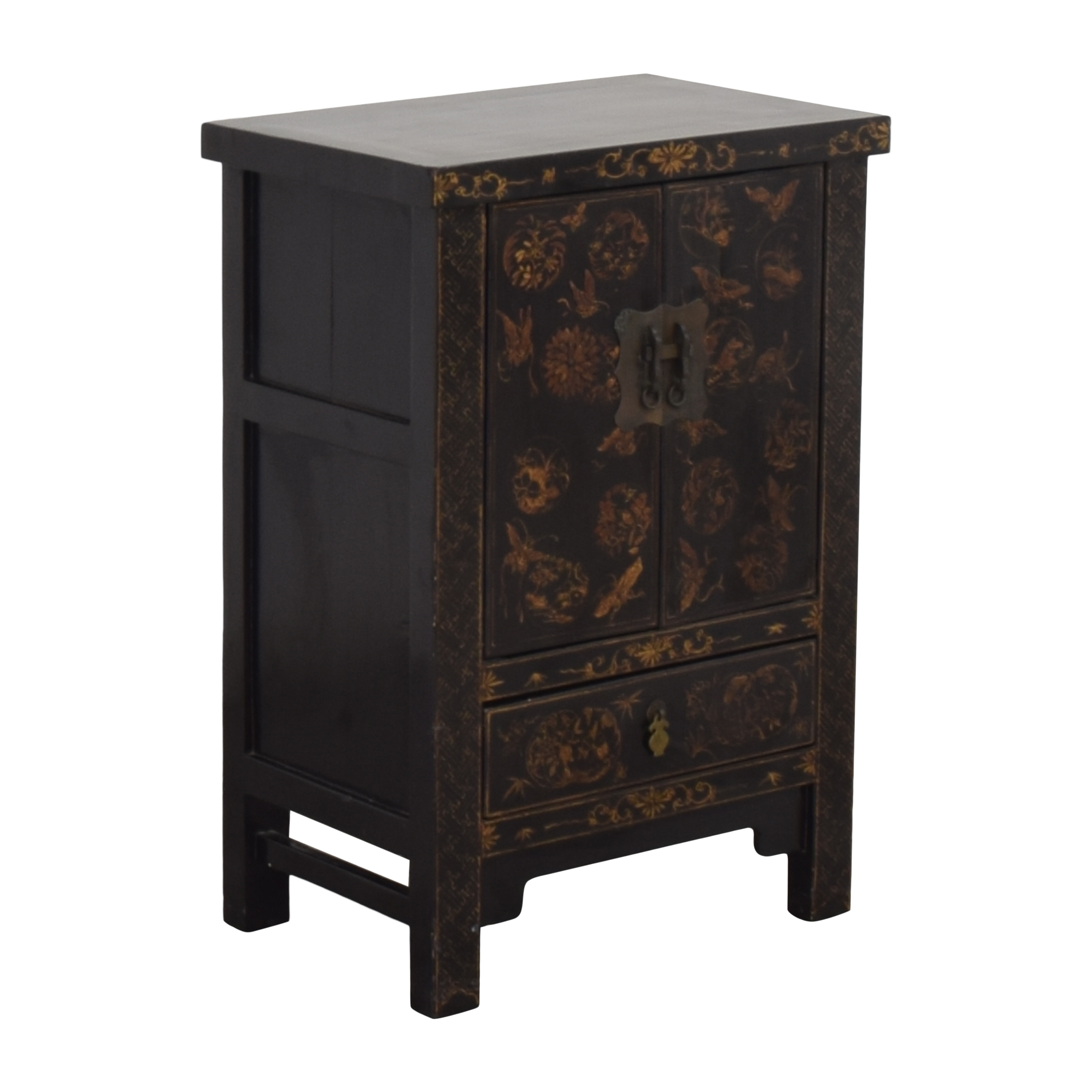 Japanese-Style End Table Cabinet black